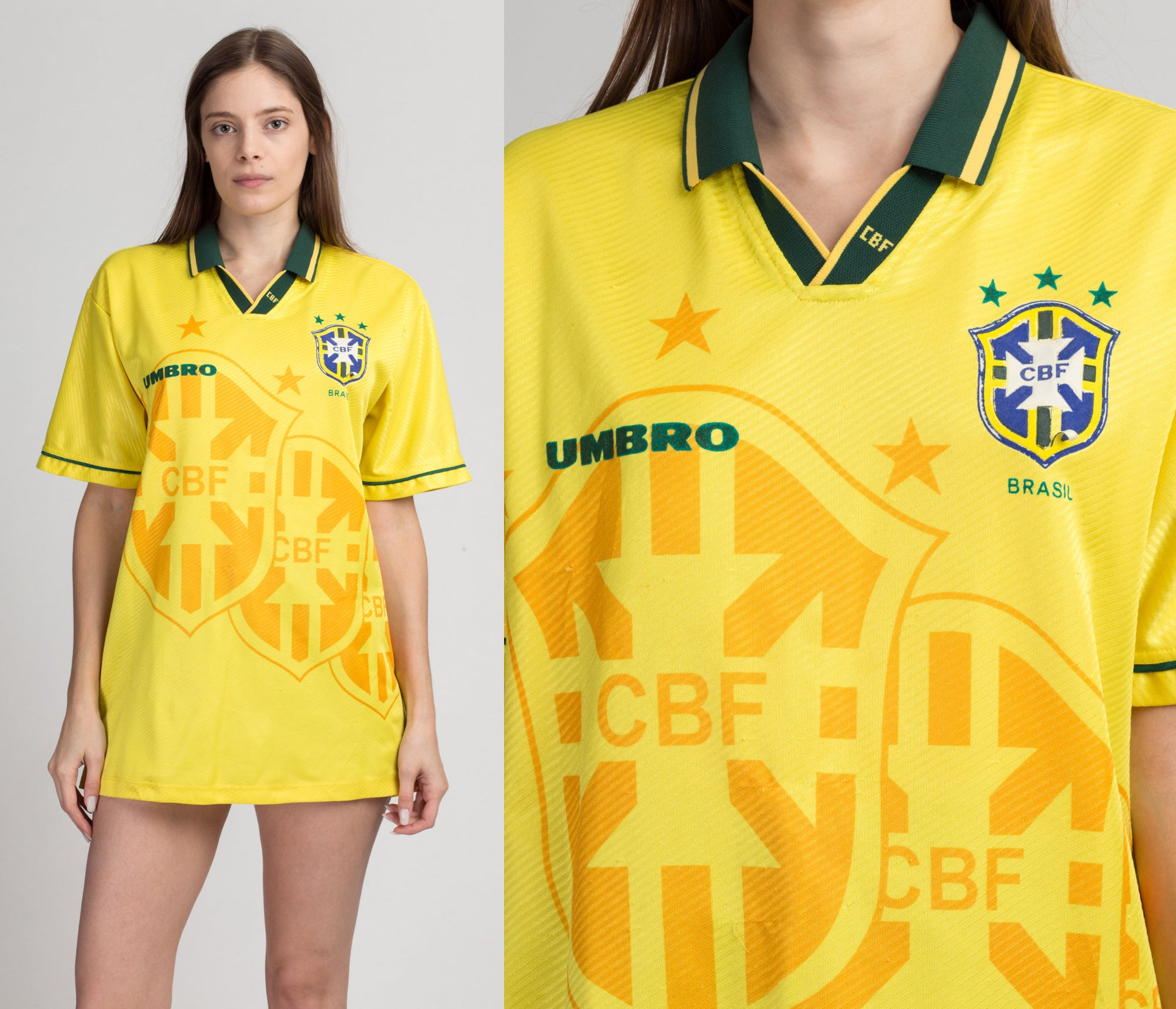90s Brazil CPF Umbro Soccer Jersey - Men's Large | Vintage Brasil Football Athletic Polo Short