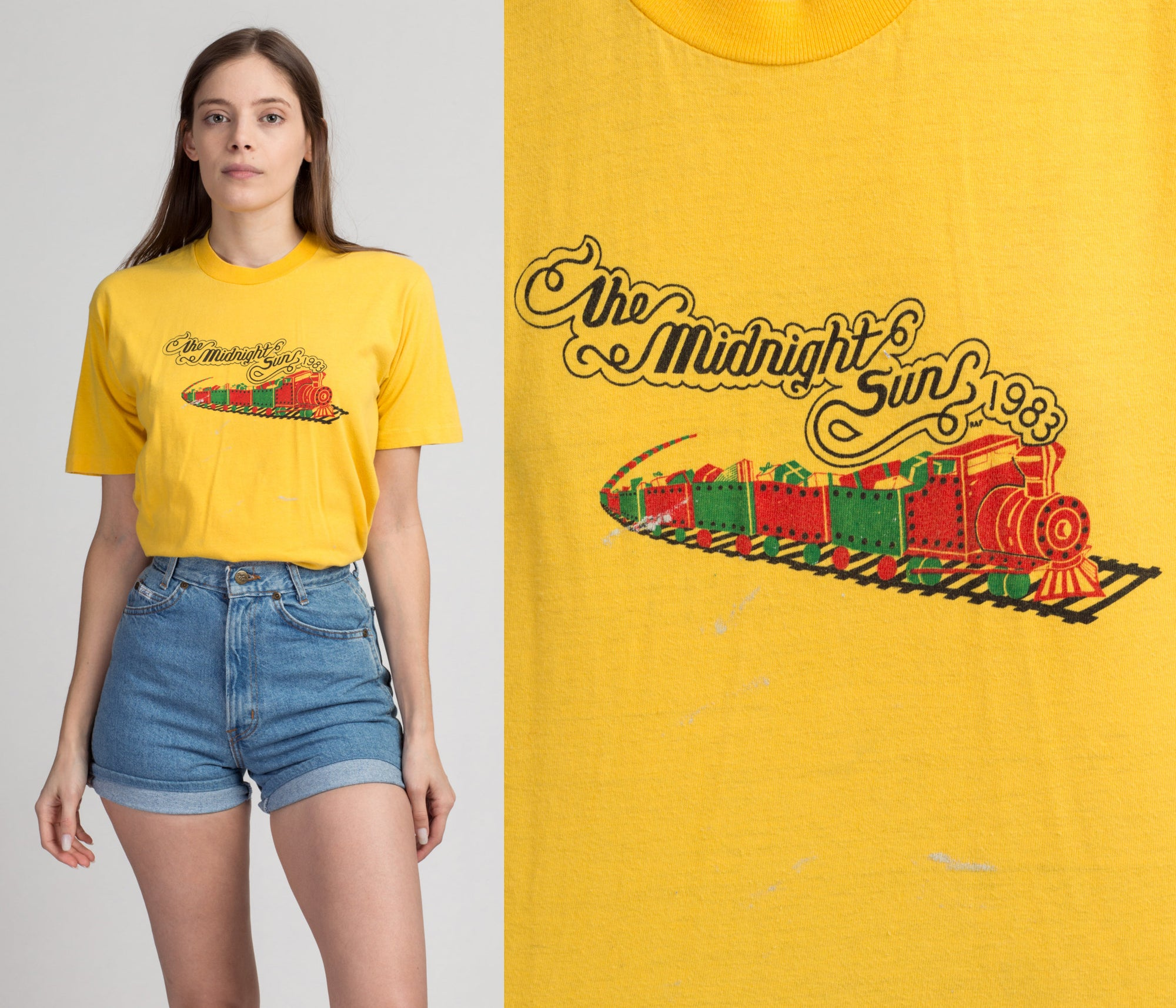 80s Midnight Sun Alaska Train Tee - Medium | Vintage 1983 Yellow Graphic Tourist T Shirt