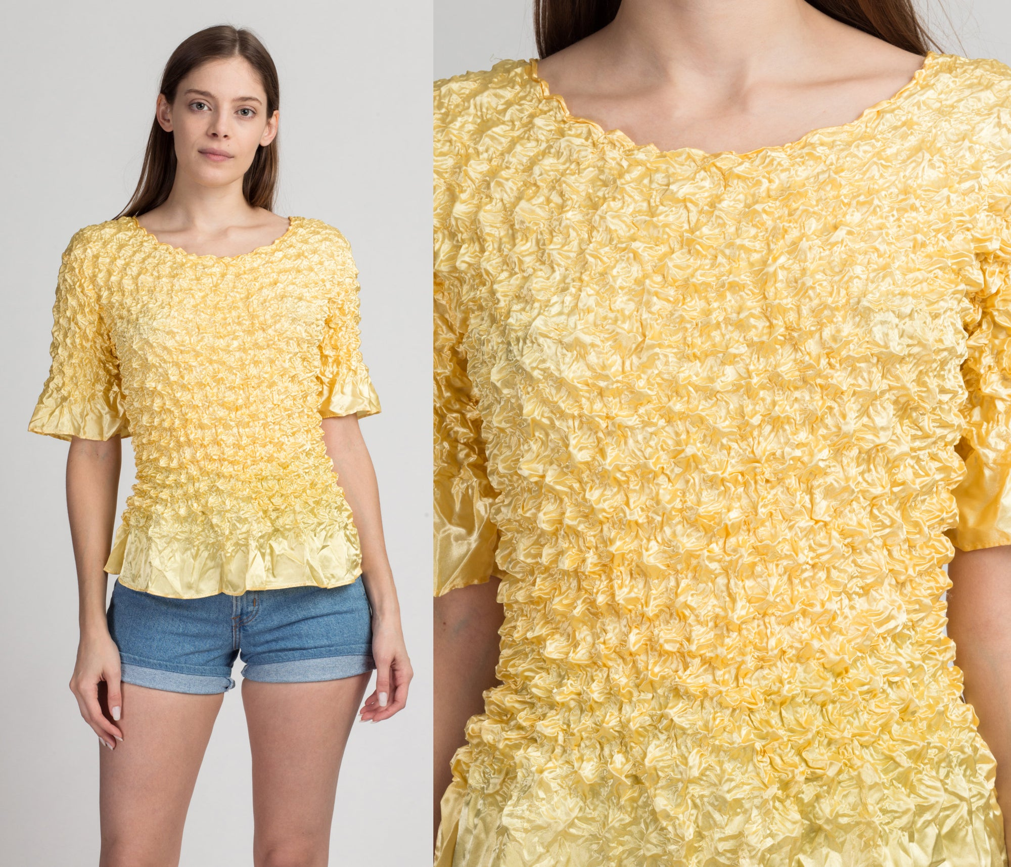 90s Yellow Stretchy Popcorn Crinkle Shirt - One Size | Vintage Short Sleeve Top