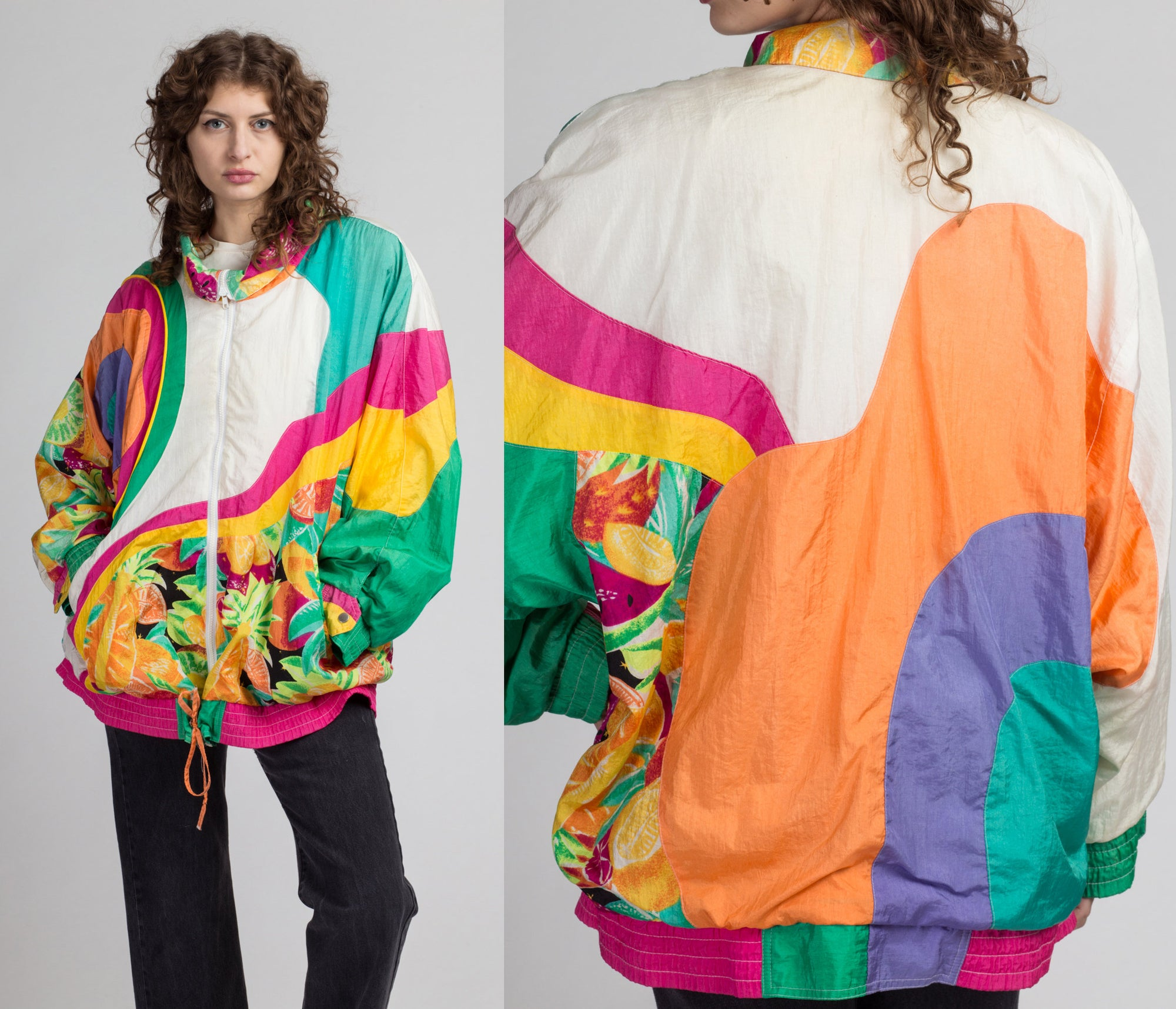 80s Fruit Print Color Block Windbreaker - 3X | Vintage Colorful Zip Up Retro Lightweight Jacket