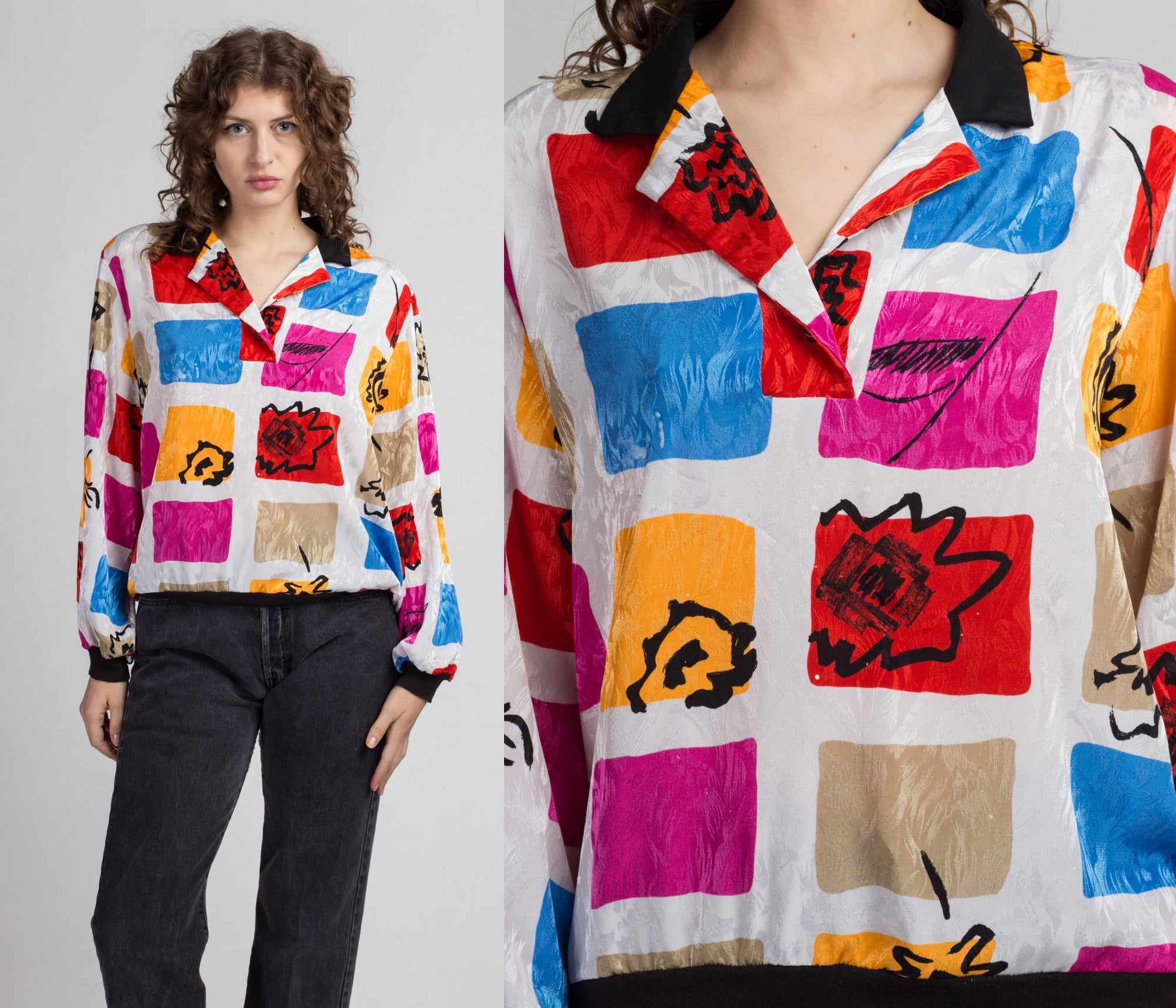 80s Abstract Color Block Henley Top  - Extra Large | Vintage Colorful Long Sleeve Collared Shirt