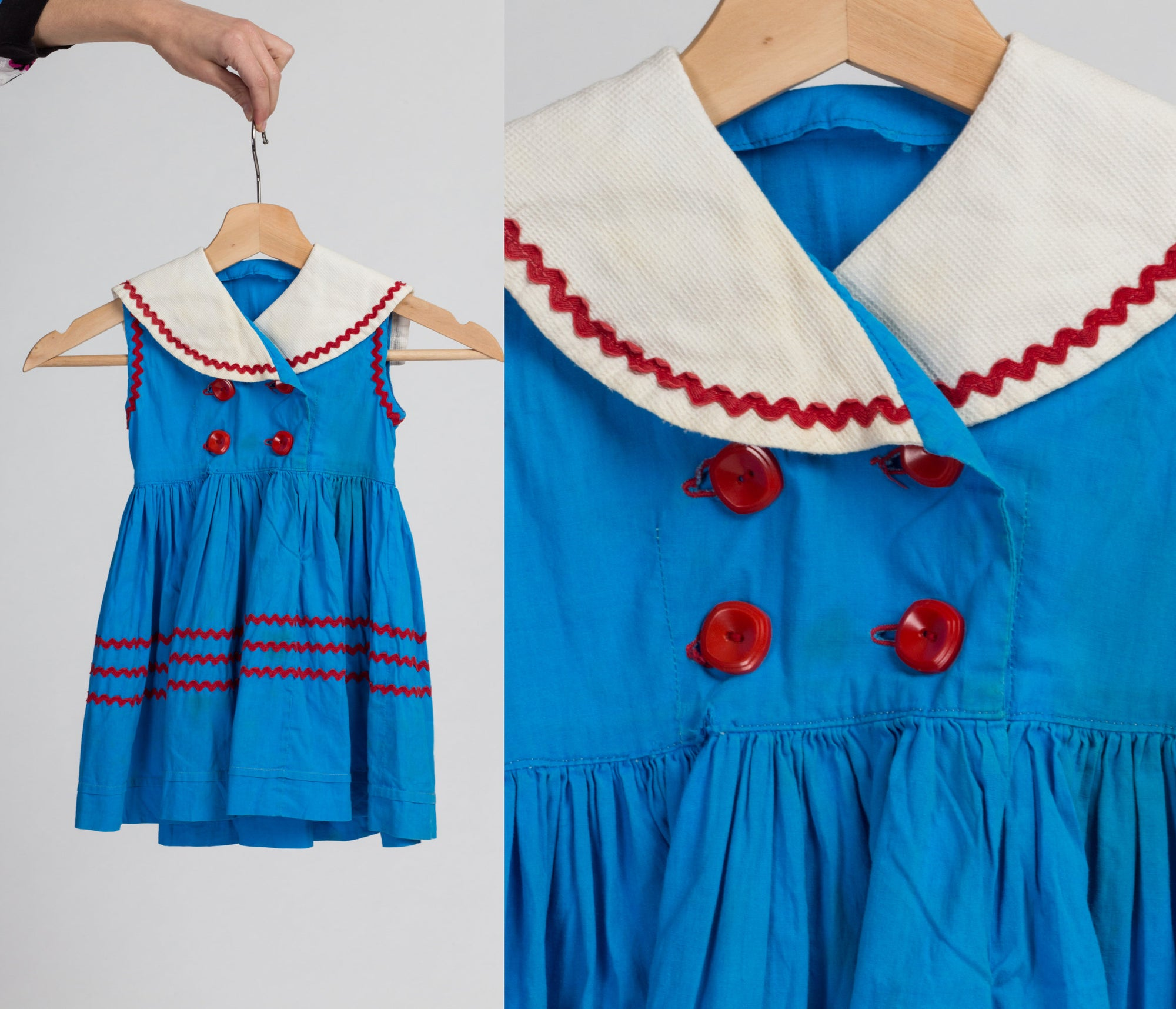 60s 70s Girl's Blue Sailor Collar Dress - 18-24 Months | Vintage Double Breasted Red Button Up Ric Rac Children's Clothing