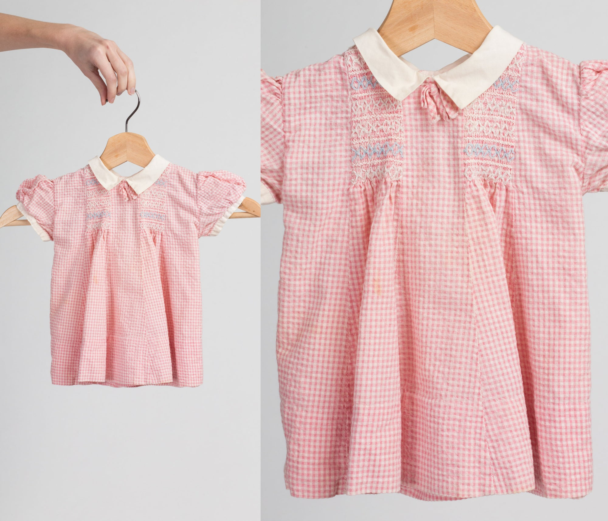 60s Nannette Originals Pink Gingham Baby Girl Dress - 12 Months | Vintage Smocked Seersucker Peter Pan Collar Dress