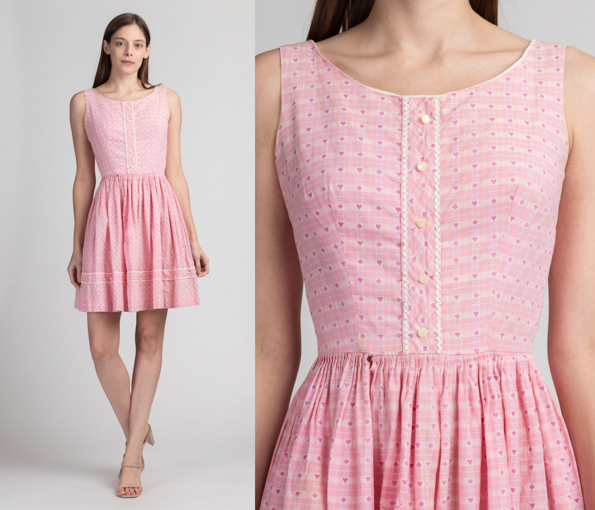 60s Pink Heart Print Gingham Mini Dress, As Is - Extra Small | Vintage Sleeveless Fit & Flare Retro Girly Dress