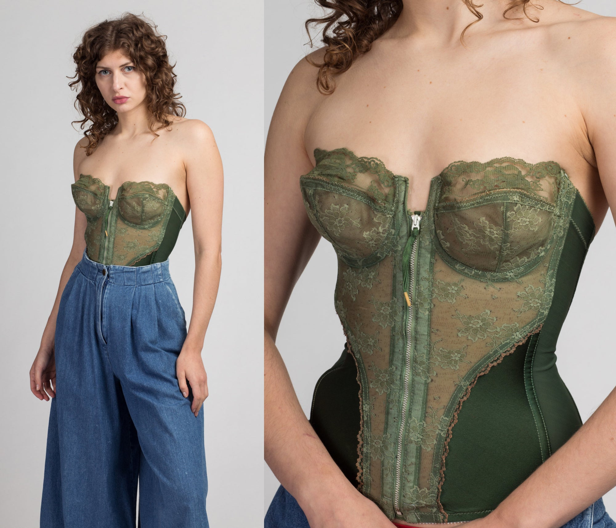 70s Army Green Zip Up Bustier, As Is - 32D | Vintage Lace Corset Longline Bra Pin Up Lingerie