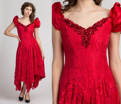 80s Red Puff Sleeve Off-Shoulder Party Dress - Medium | Vintage Lace Scarf Hem Maxi Dress