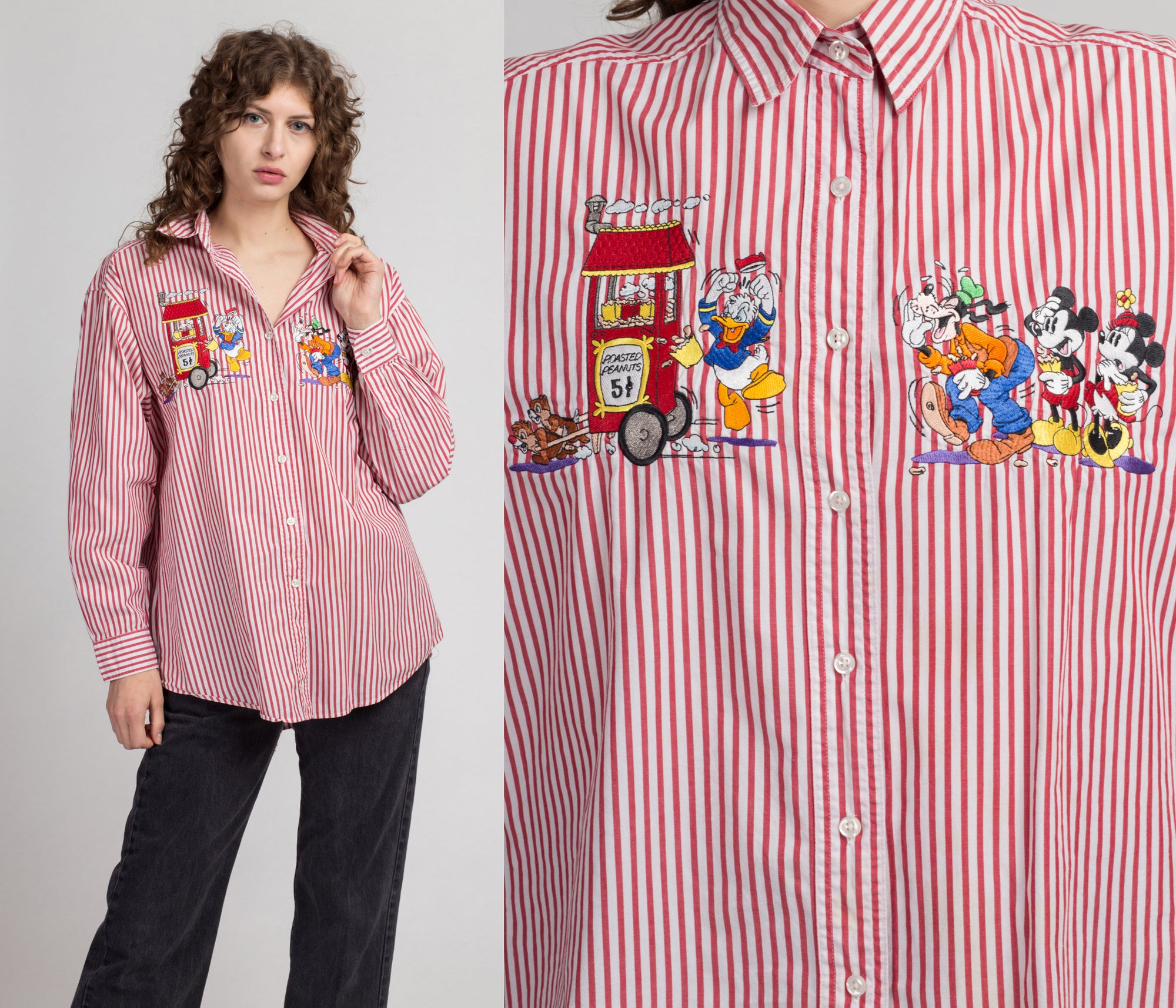 90s Looney Tunes Roasted Peanuts Shirt - Extra Large | Vintage Red & White Striped Button Up Top