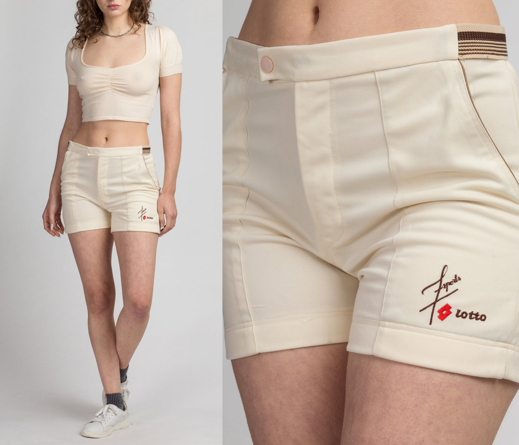 80s Striped Trim Athletic Shorts - Men's Small, Women's Medium | Vintage Cream High Waist Logo Tennis Shorts