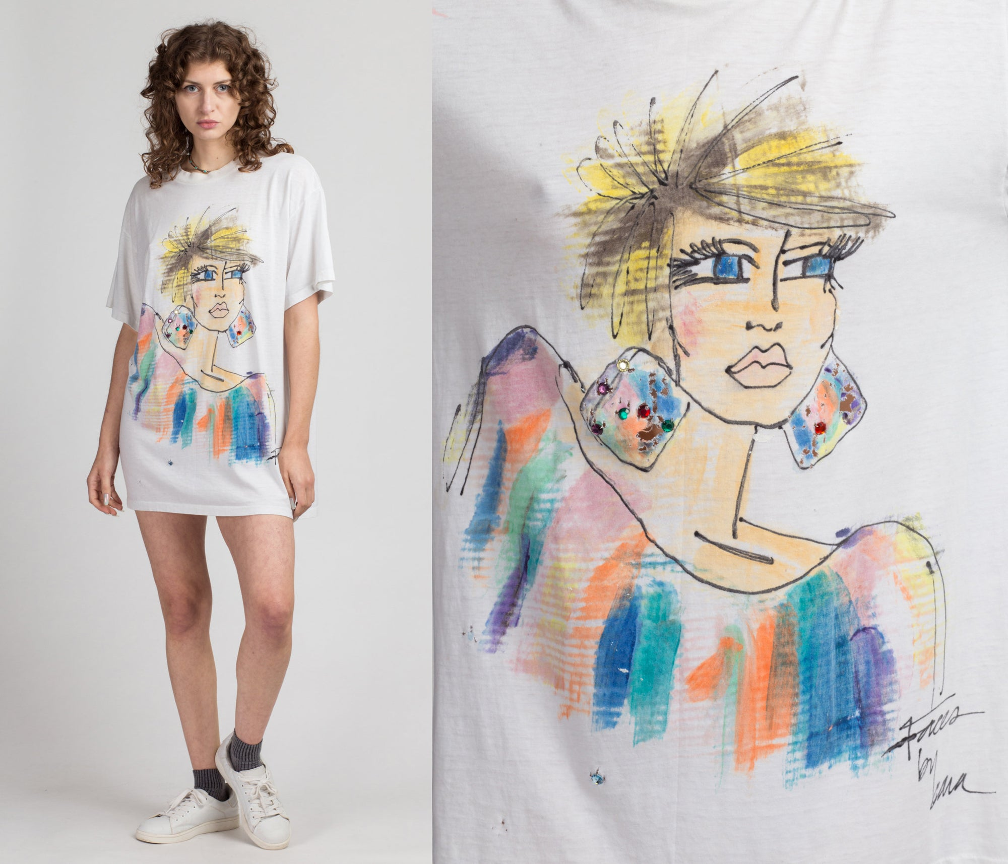 80s Painted Fashionista Sleep T Shirt - One Size | Vintage Crew Neck White Fancy Lady Tee
