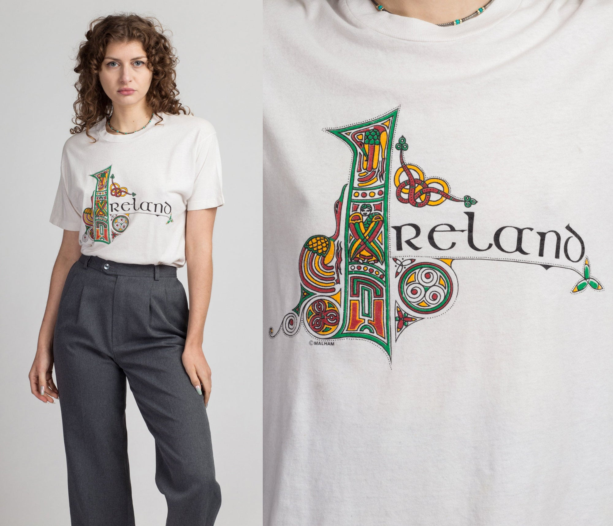 80s Stylized Ireland T Shirt - Large | Vintage Illuminated Manuscript Celtic Lettering Graphic Tee