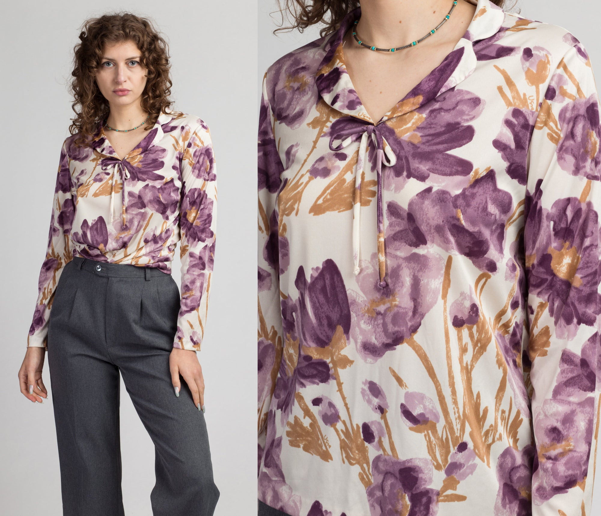 70s Vera Neumann Floral Watercolor Shirt - Large | Vintage Purple Collared Pullover Blouse