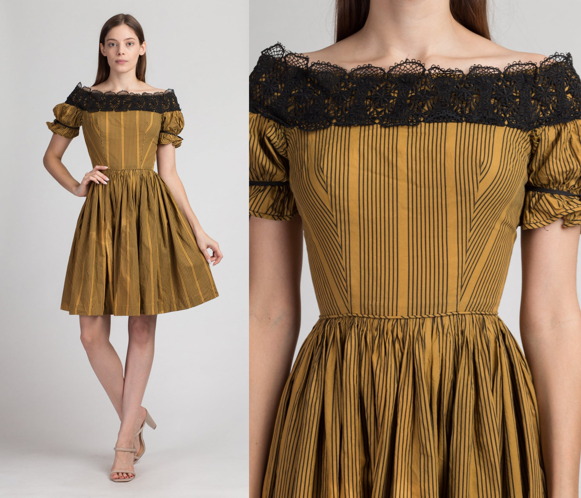 1950s Gold Striped Off-Shoulder Party Dress - Extra Small | Vintage 50s Lace Trim Puff Sleeve Mini Fit & Flare