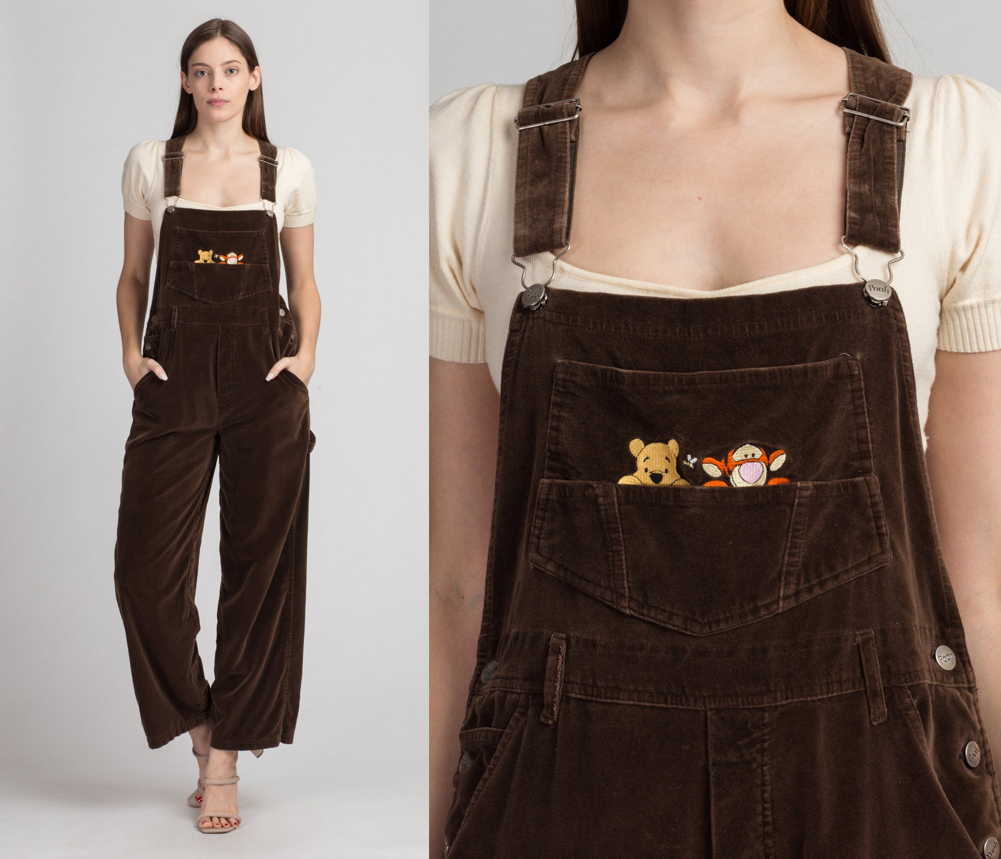 90s Winnie The Pooh Velvet Overalls - Large | Vintage Brown Embroidered Tigger Cartoon Dungarees