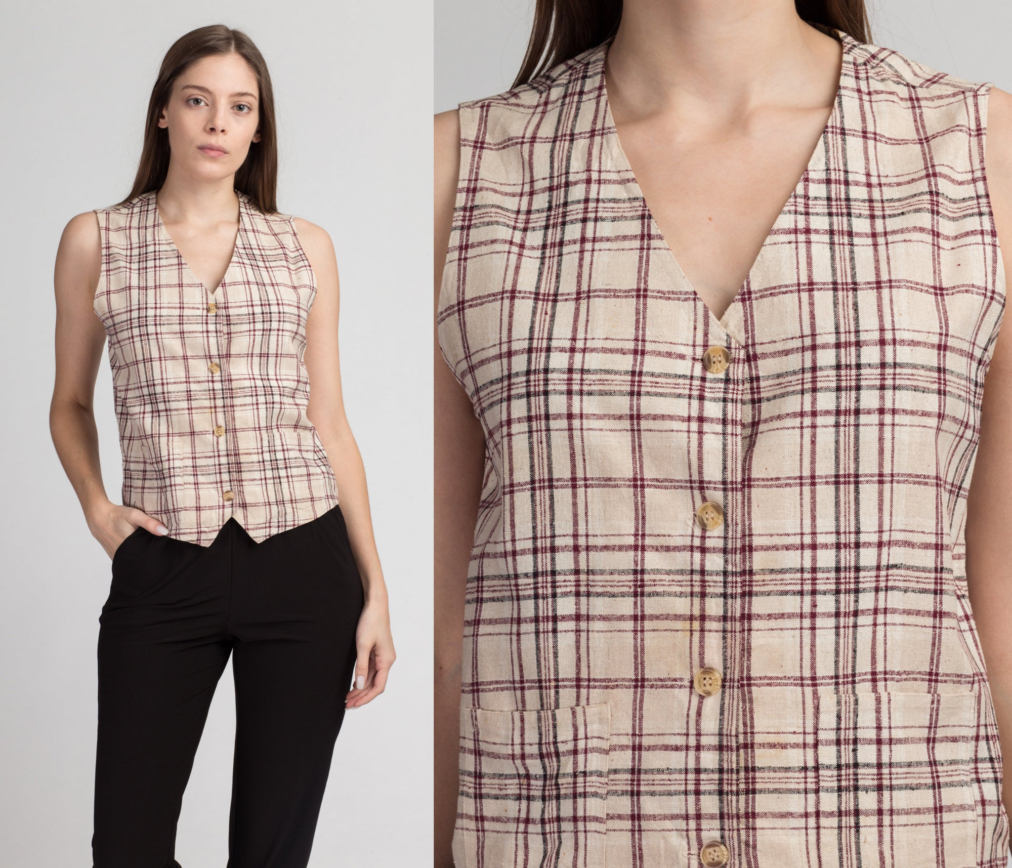 90s Plaid Raw Silk Vest - Small to Medium | Vintage Button Up Sleeveless Crop Top