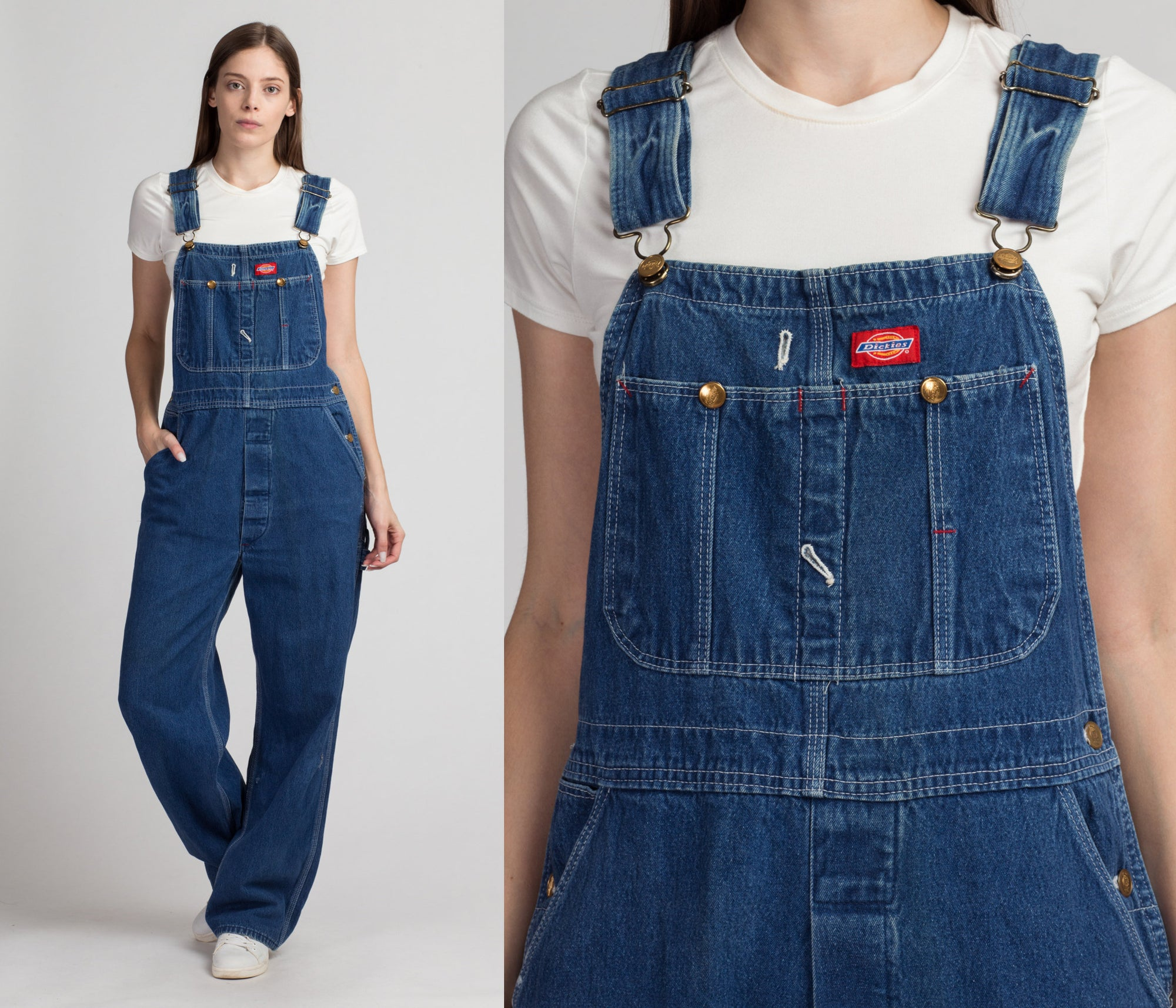 90s Dickies Dark Wash Unisex Overalls - 34x32, Medium | Vintage Denim Bib Workwear Dungarees