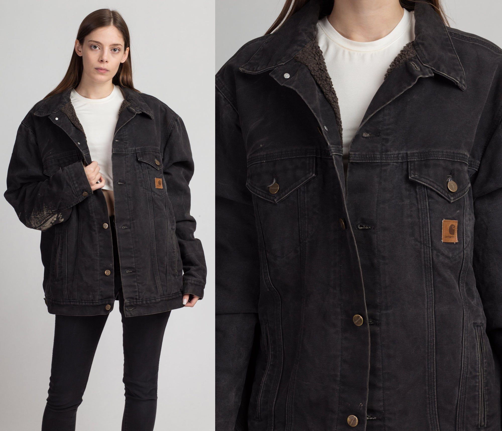 Vintage Carhartt Workwear Jacket - Men's XL | Black Distressed Heavyweight Cotton Duck Denim Chore Coat