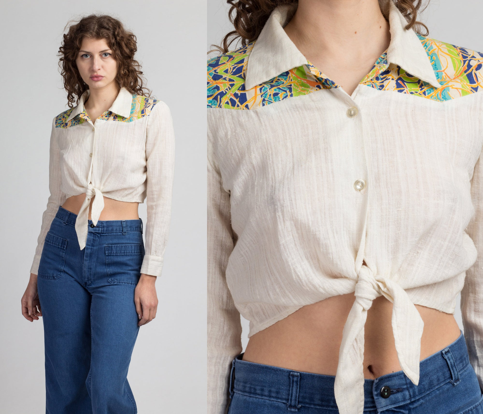 70s Western Tie Waist Crop Top - Large | Vintage Off-White Button Up Boho Striped Yoke Cropped Blouse