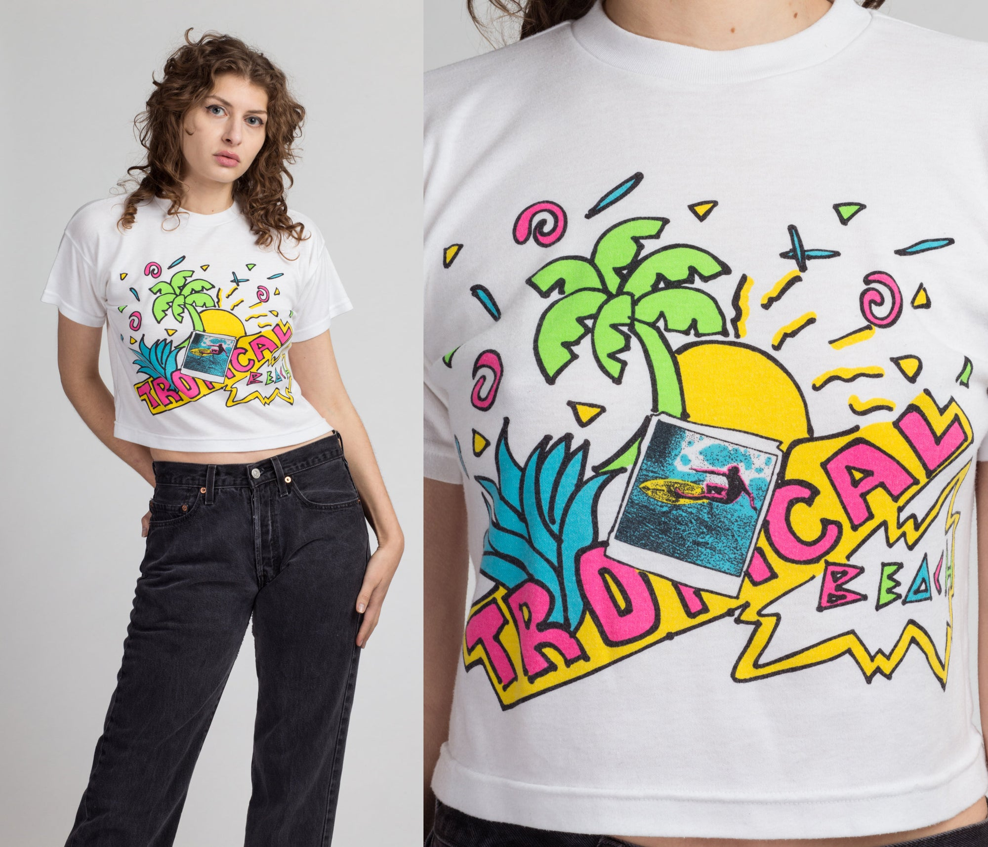 80s Tropical Beach Cropped T Shirt - Medium | Vintage White Vaporwave Graphic Crop Top Tee