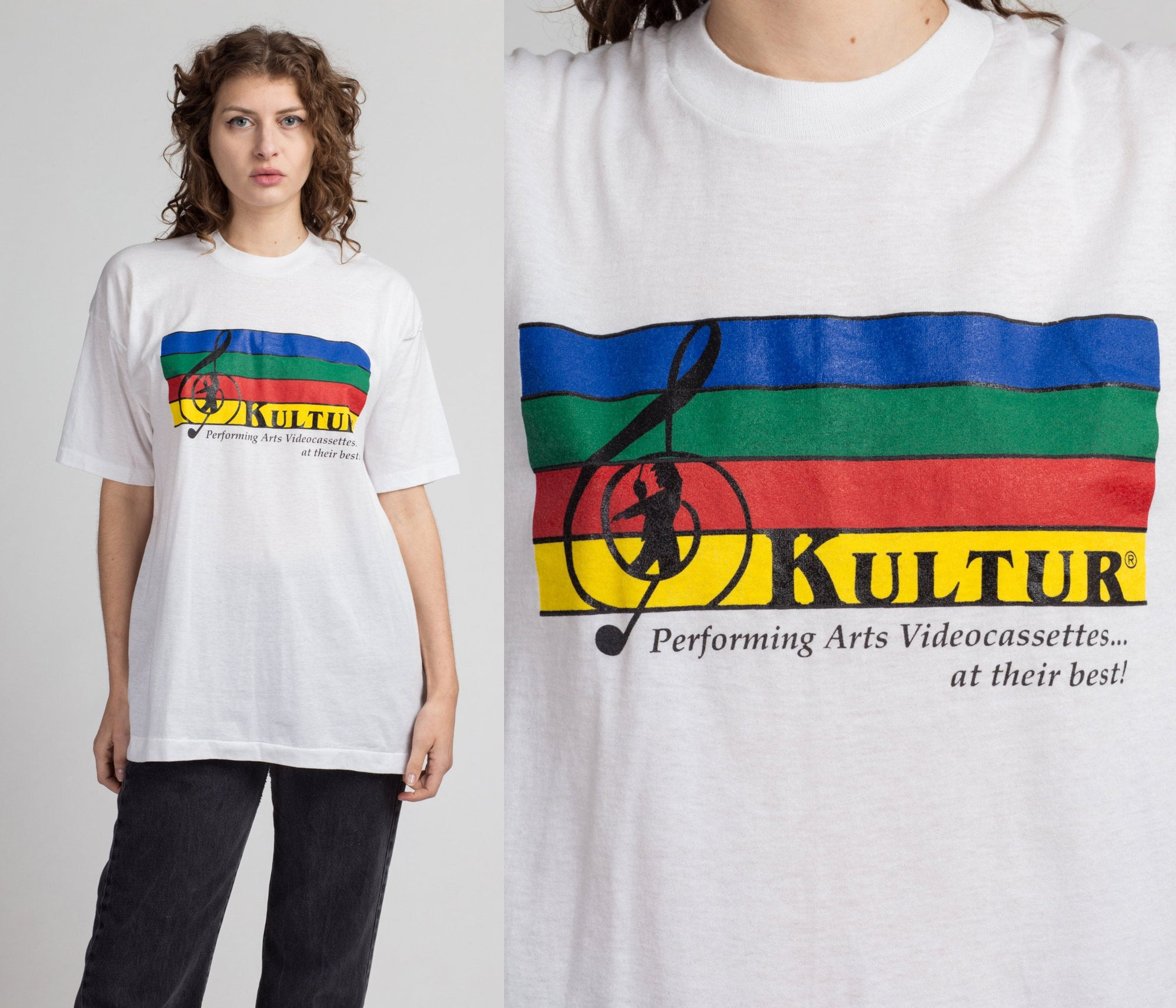 Vintage Kultur VHS Tapes T Shirt - Men's Large | 90s White Music Cleft Graphic Performing Arts Tee