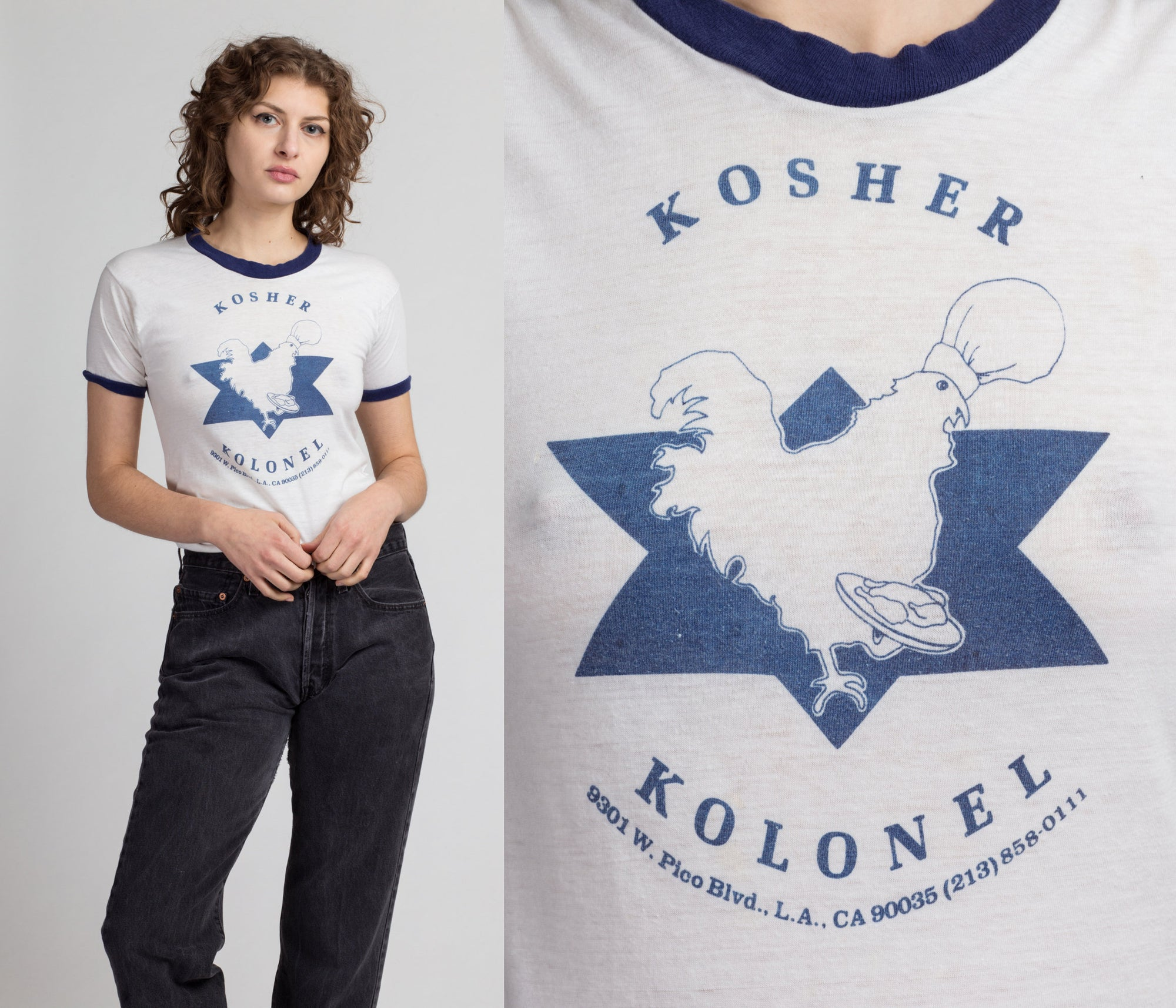 80s Kosher Deli T Shirt - Extra Small | Vintage White Chicken Graphic Ringer Tee