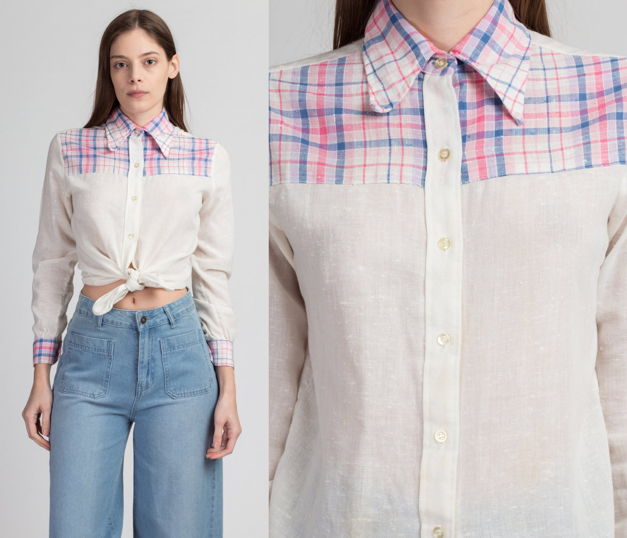 70s Plaid Yoke Western Blouse, As Is - Petite Small | Vintage White Pink Long Sleeved Collared Top