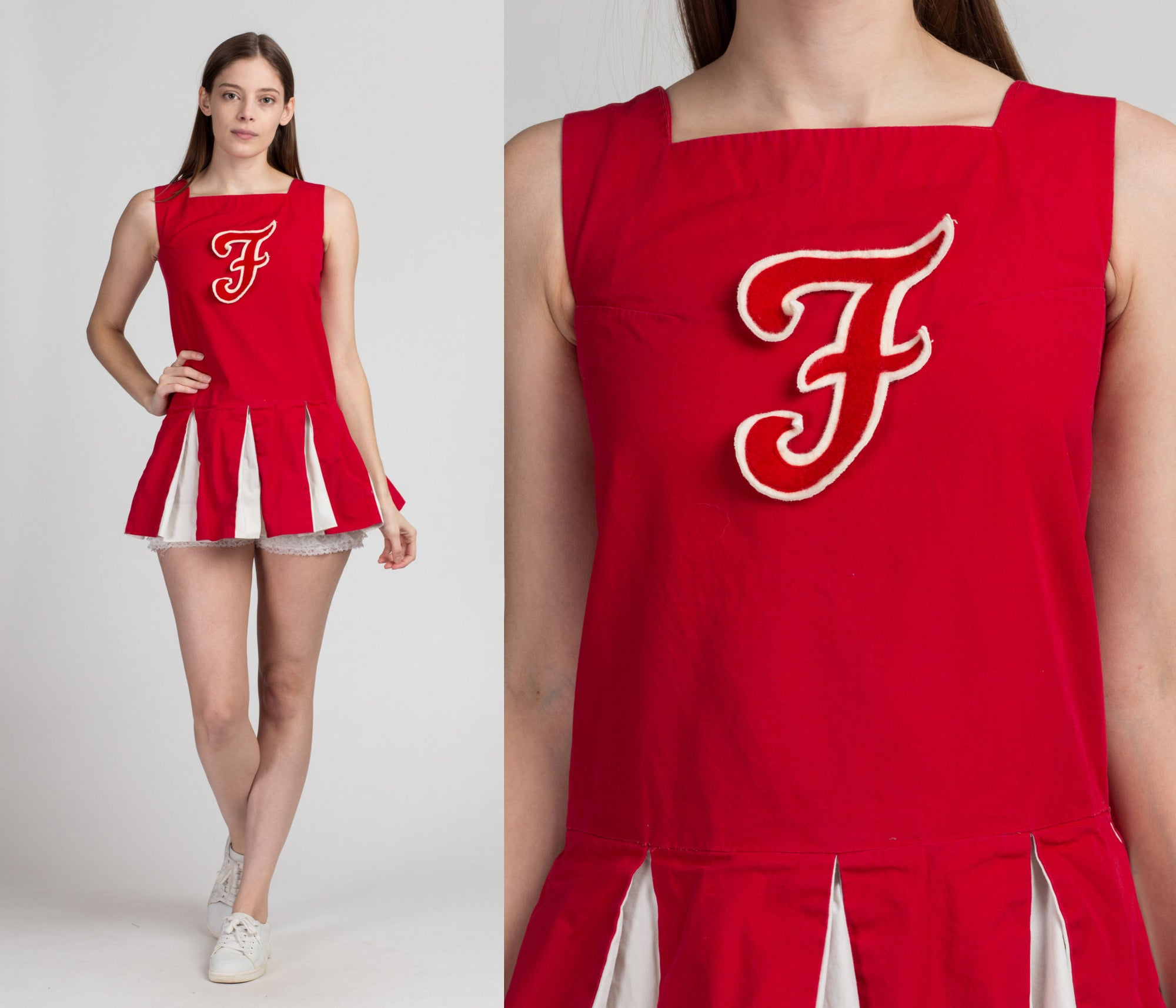 Vintage 60s Cheerleader Mini Dress - Petite Extra Small | 1960s Red White Micro Mini Cheer Outfit