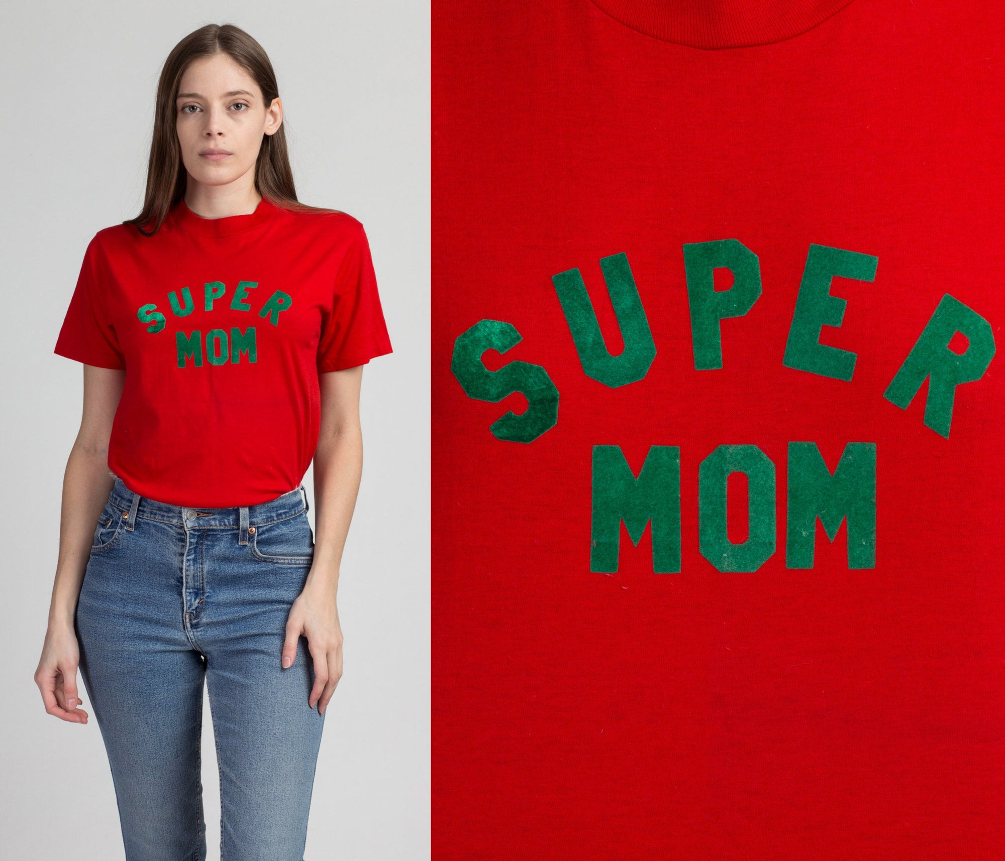 80s Super Mom T Shirt - Medium | Vintage Red Green Felt Graphic Tee