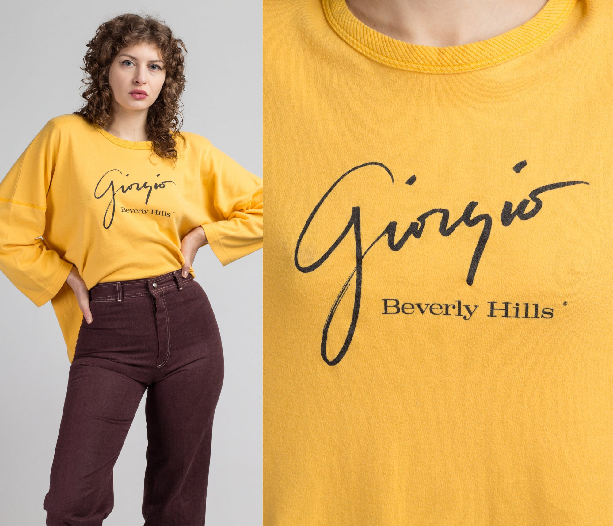 80s Giorgio Beverly Hills Yellow Sweatershirt - One Size | Vintage Long Sleeve Oversize Graphic Top