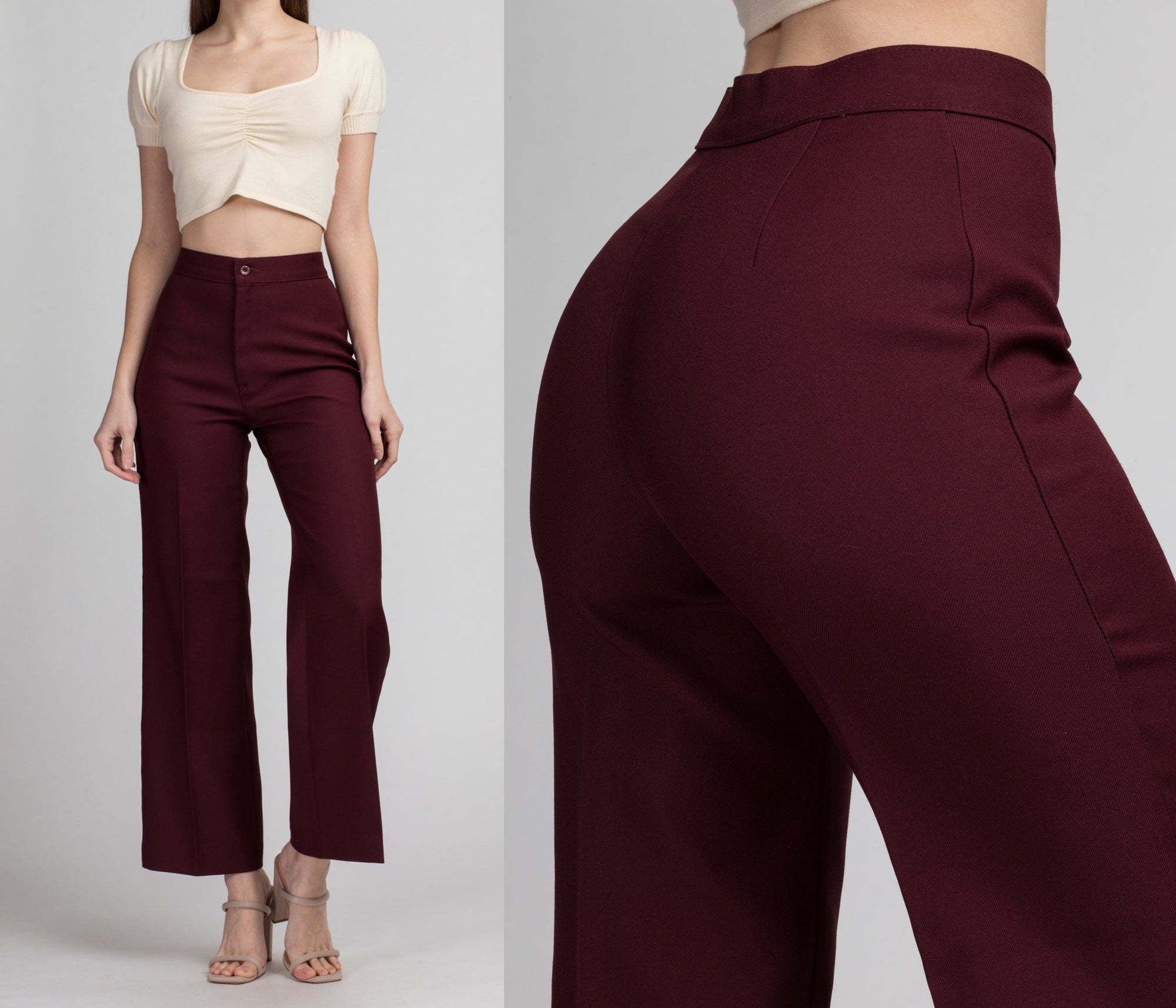 70s Levi's Maroon High Waist Pants - Small, 26"