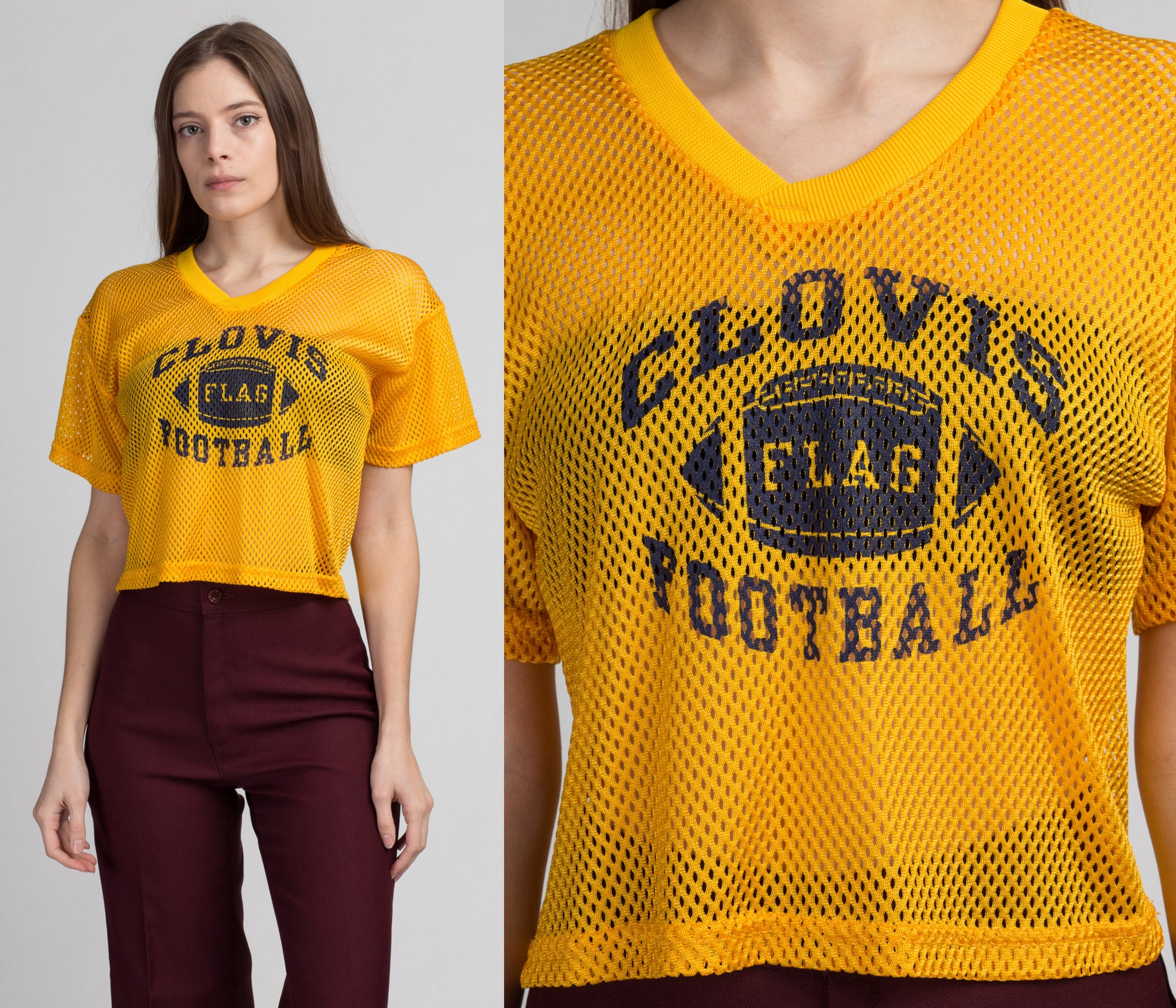 90s Cropped Mesh Football Jersey - Medium | Vintage Yellow Sheer Sportswear Athletic Shirt