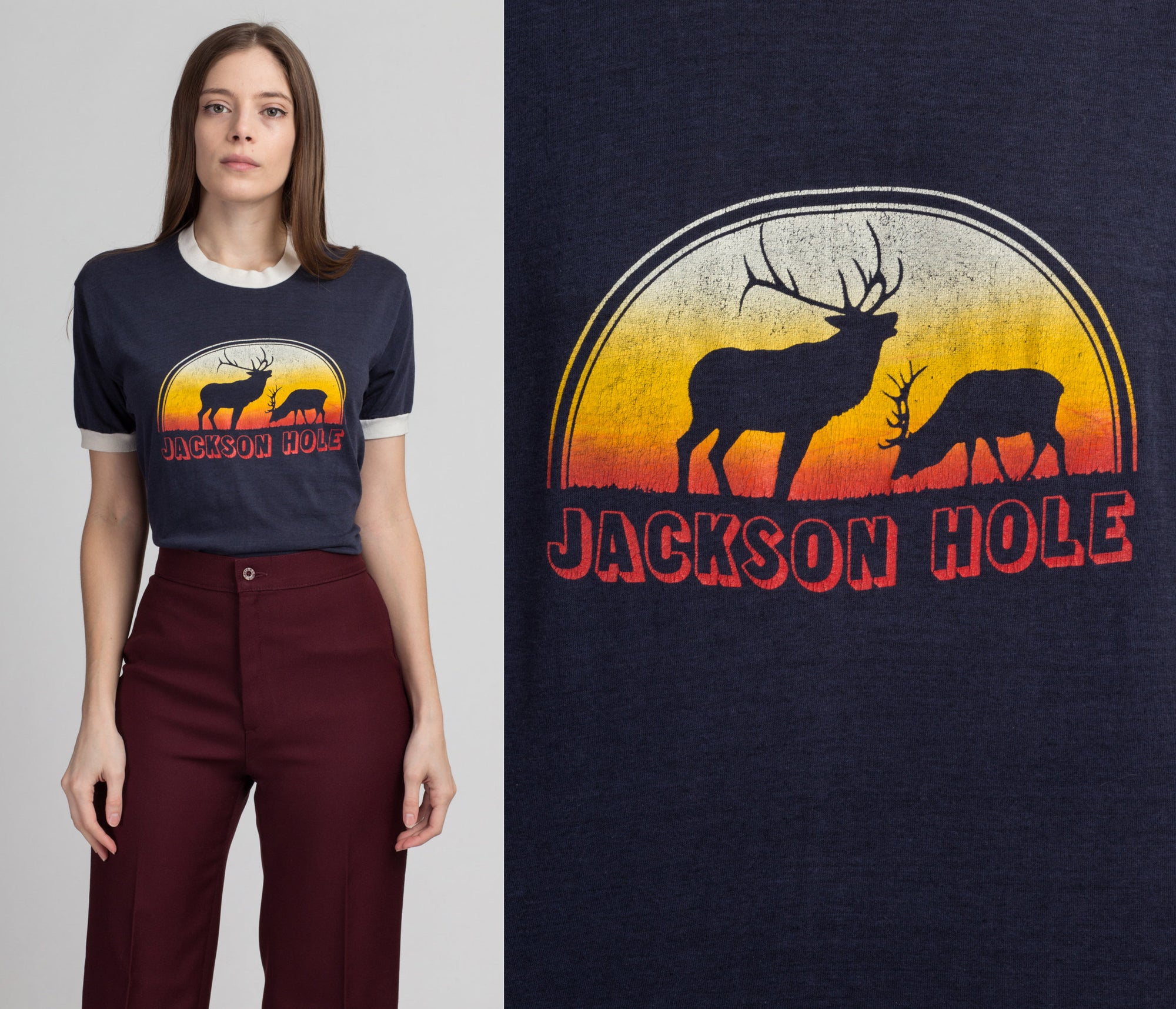 80s Jackson Hole Tourist Tee - Medium to Large | Vintage Blue Deer Sunset Graphic Ringer T Shirt