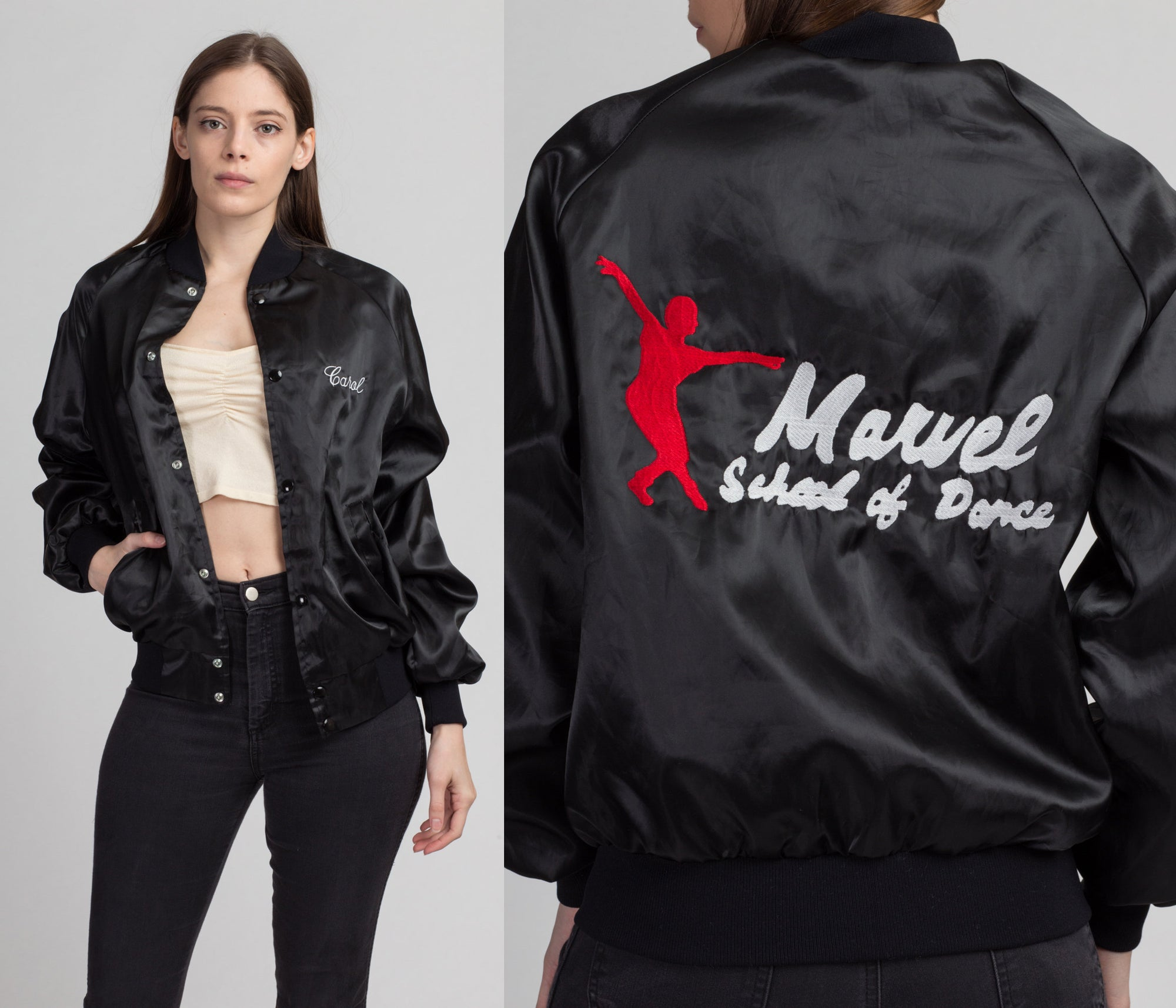 80s Marvel School Of Dance Satin Bomber Jacket - Men's Small | Vintage Black Snap Button Varsity Windbreaker Coat