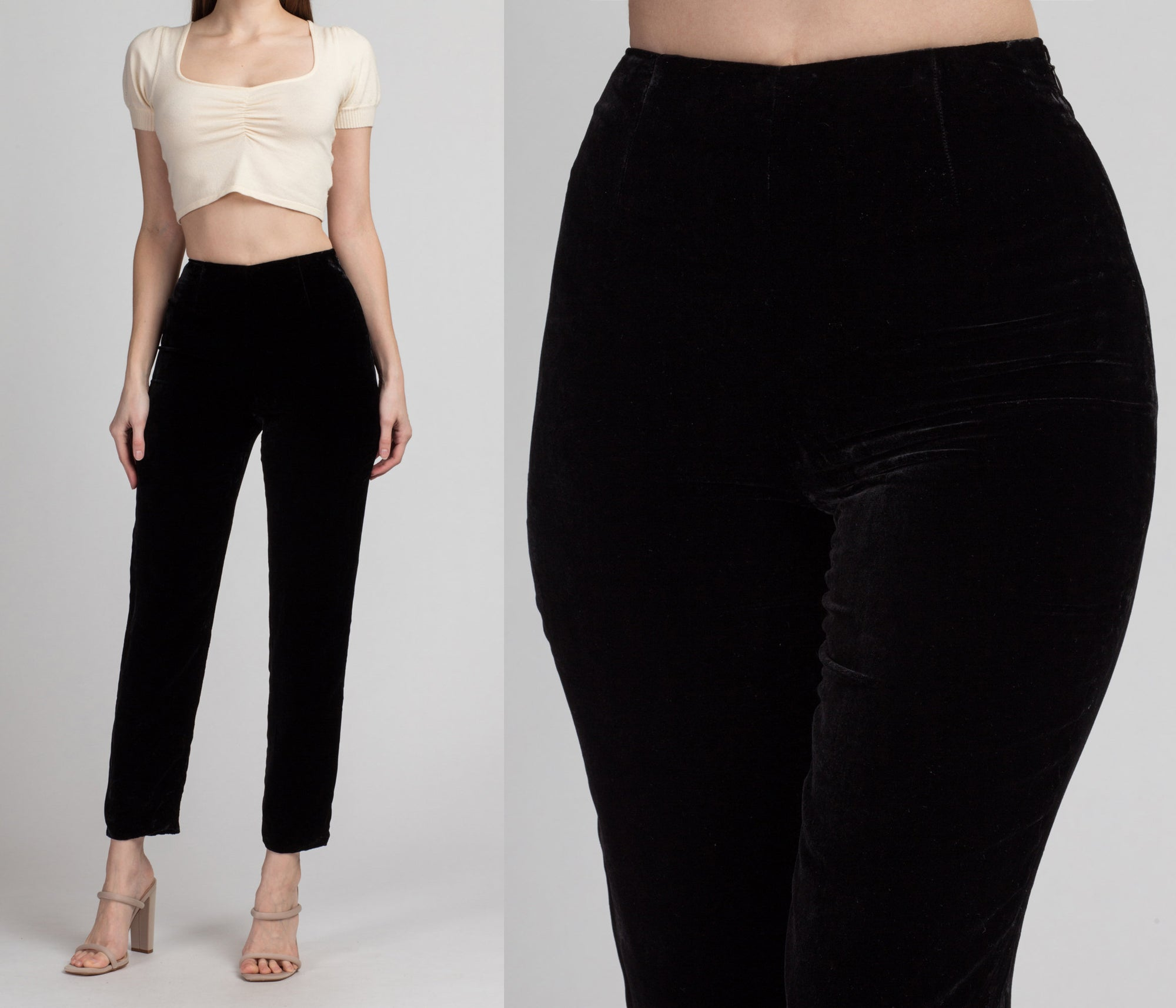 90s Black Velvet High Waist Pants - Extra Small | Vintage Slim Tapered High Rise Trousers