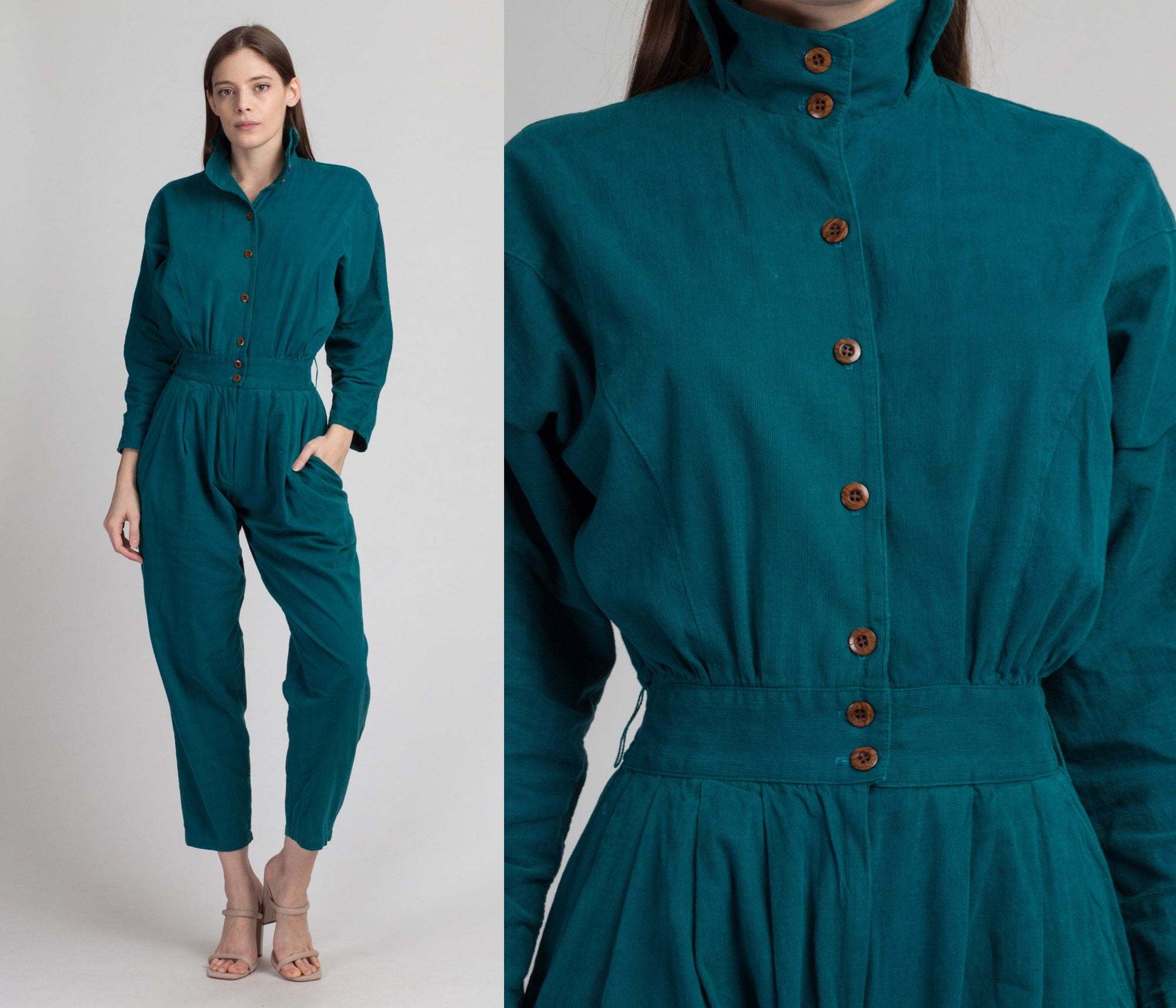 80s Teal Corduroy Fitted Waist Jumpsuit - Small to Medium | Vintage Button Up Long Sleeve Collared Outfit