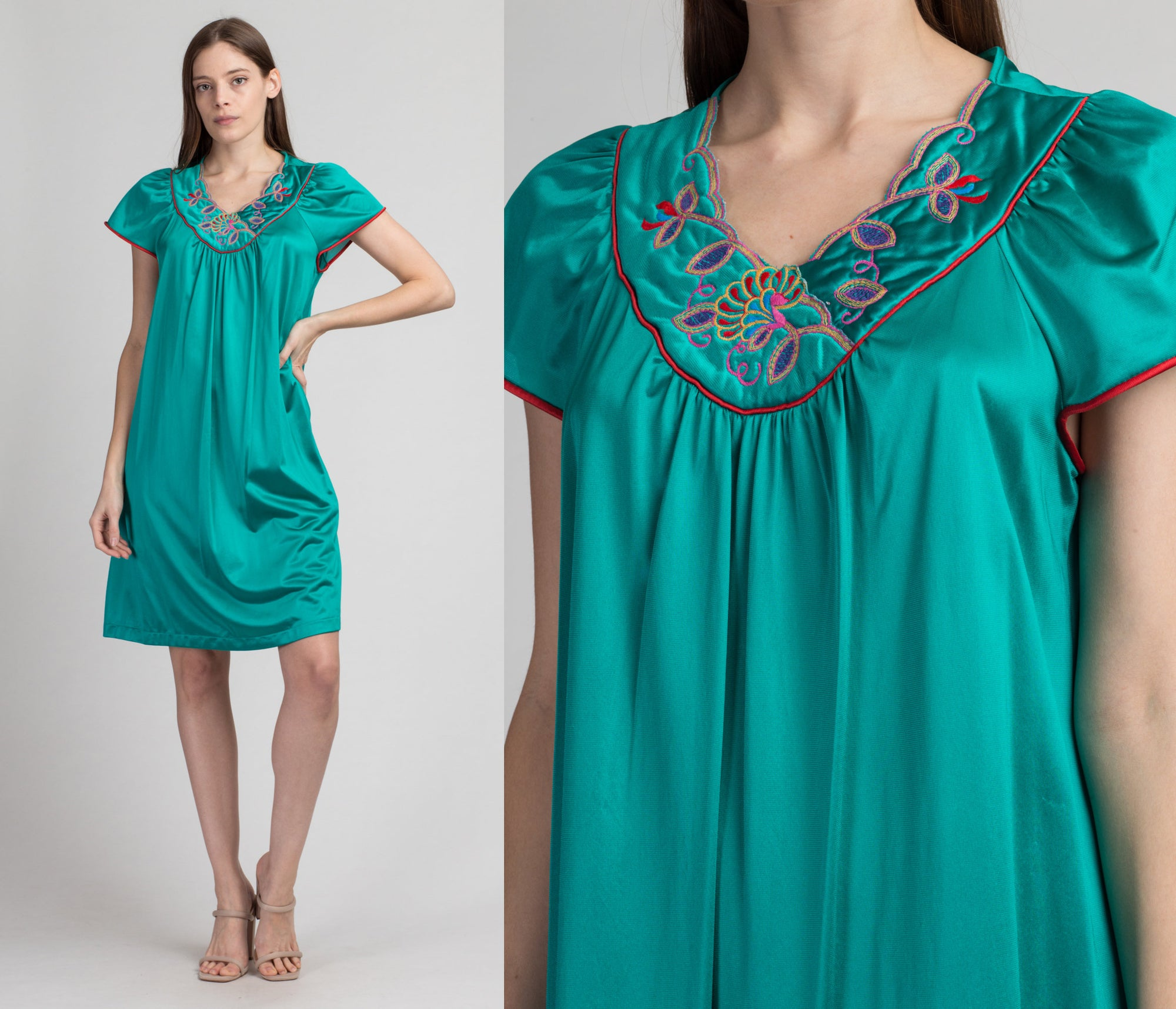 Vintage Vanity Fair Slip Nightdress - Medium | 70s 80s Teal Green Mini Nightie