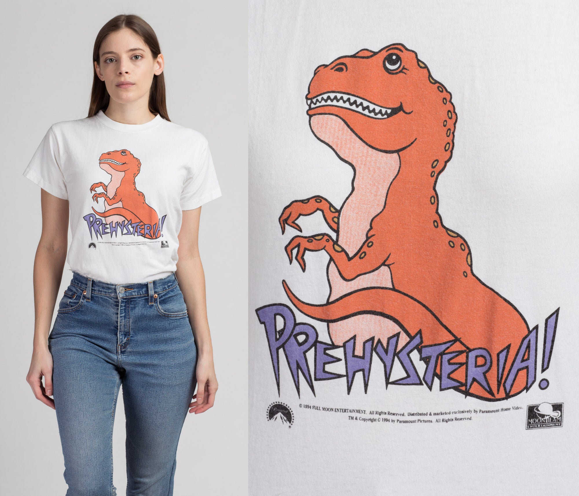 90s Prehysteria! Dinosaur T Shirt - Extra Small | Vintage White Cropped Graphic Movie Tee