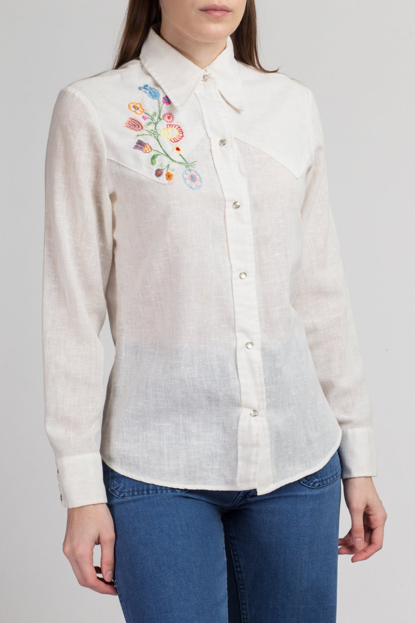 70s Levi's Floral Embroidered Shirt - Men's Small | Vintage Western White Pearl Snap Collared Top