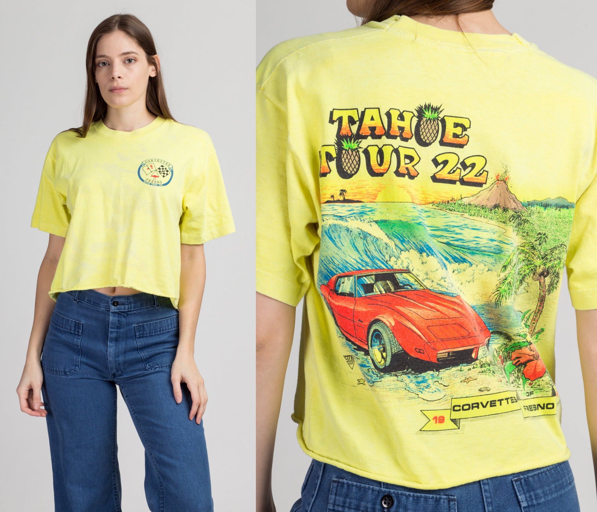 90s Corvette Tahoe Tour Cropped T Shirt - Large | Vintage Neon Yellow Graphic Crop Top Car Tee