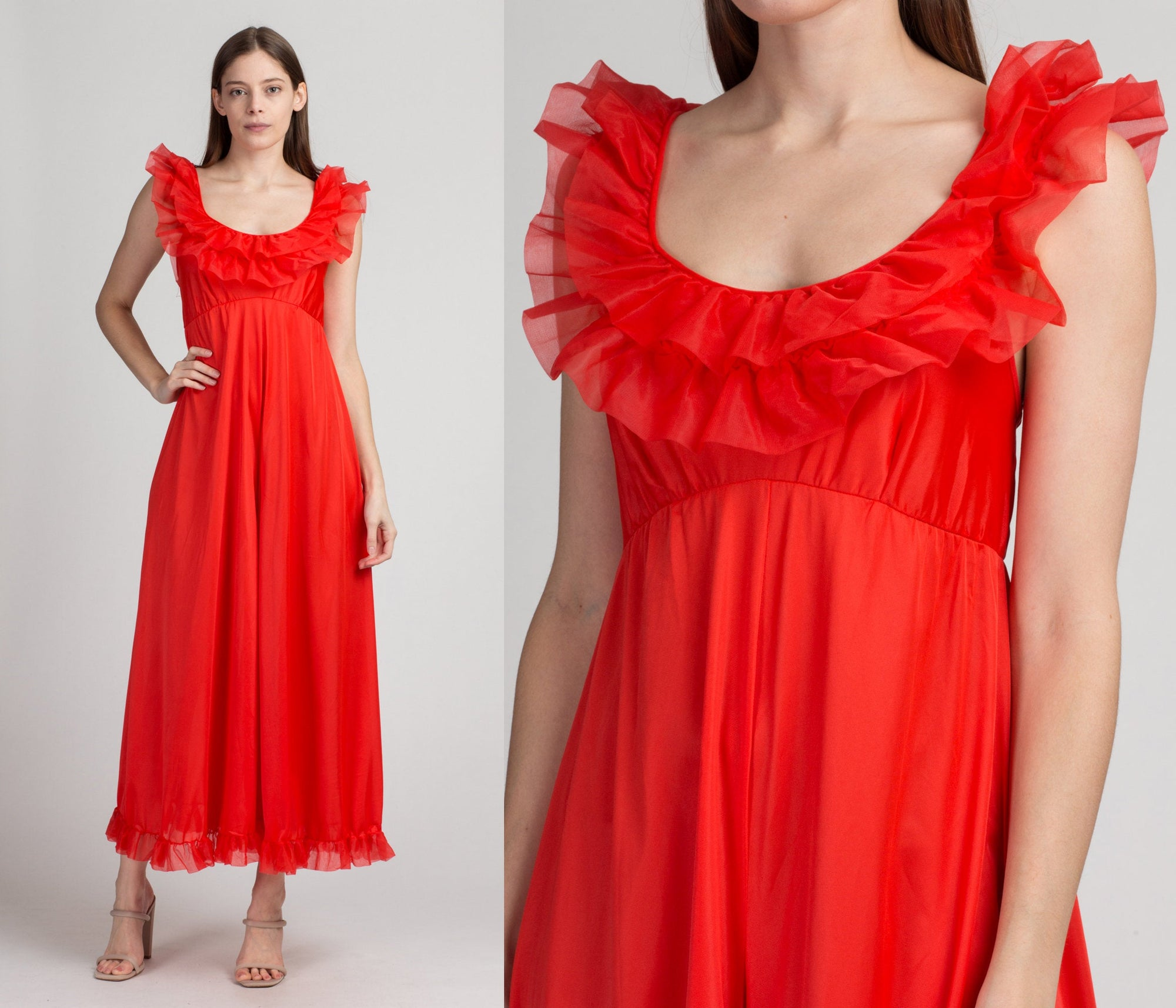 60s 70s Boho Red Ruffle Trim Jumpsuit - Extra Small | Vintage Sleeveless Wide Leg One Piece Pantsuit