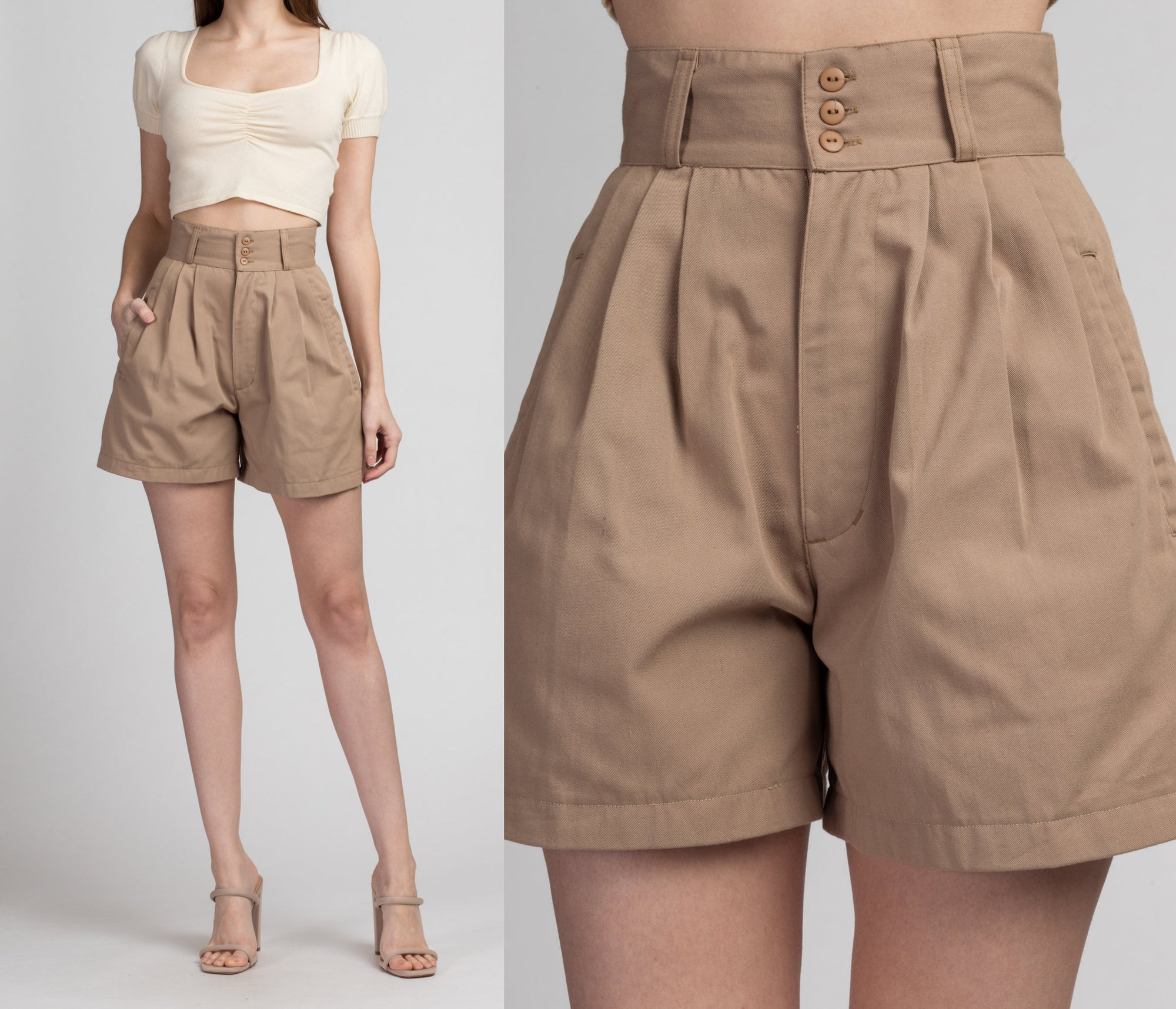 90s High Waist Khaki Shorts - Extra Small, 25"