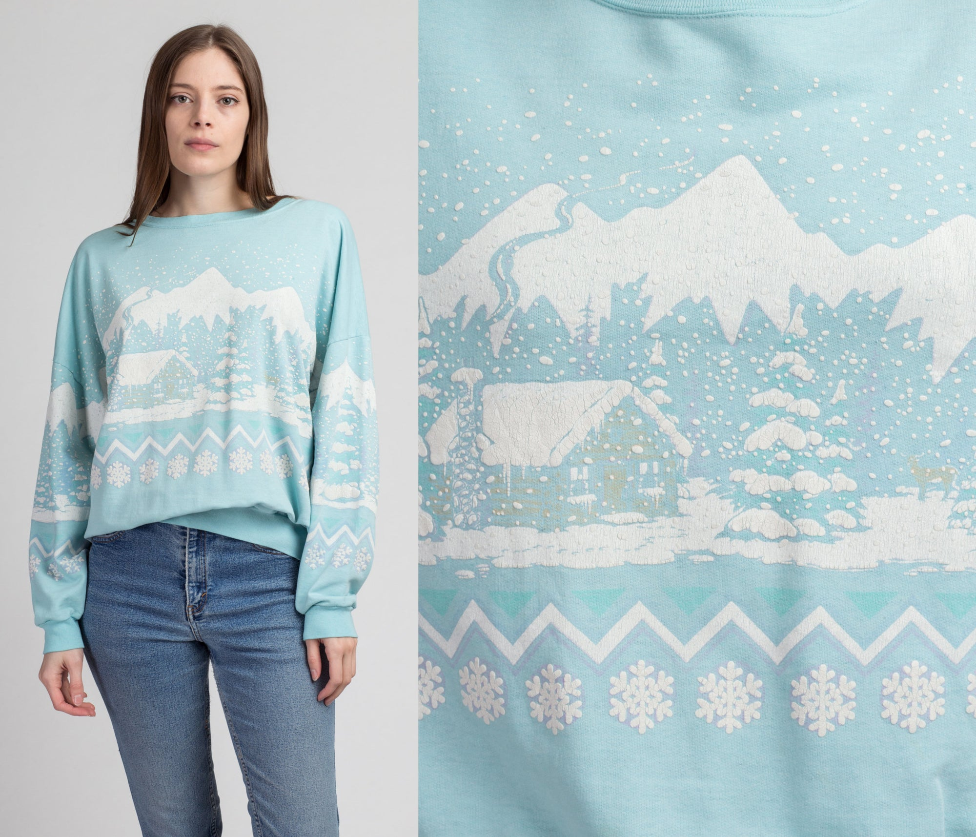 90s Winter Snow Scene All-Over Puffy Print Sweatshirt - Extra Large | Vintage Oversize Blue Graphic Retro Pullover