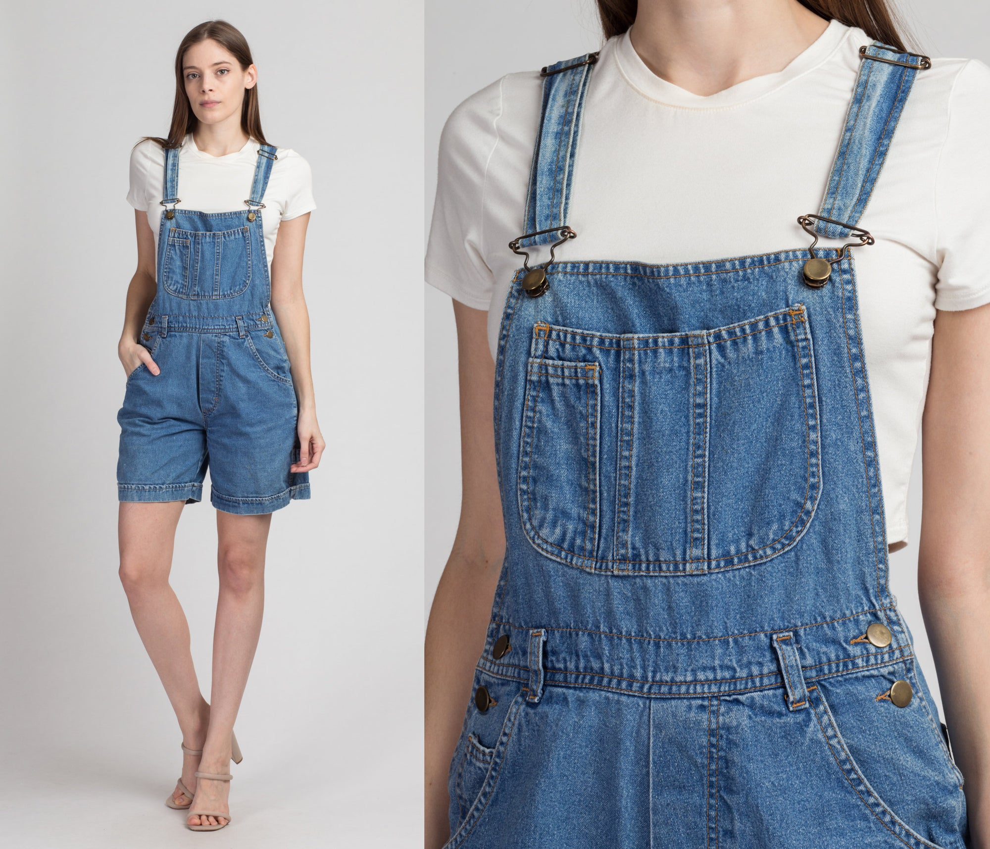 90s Jean Overall Shorts - Small | Vintage Women's Denim Romper Shortalls