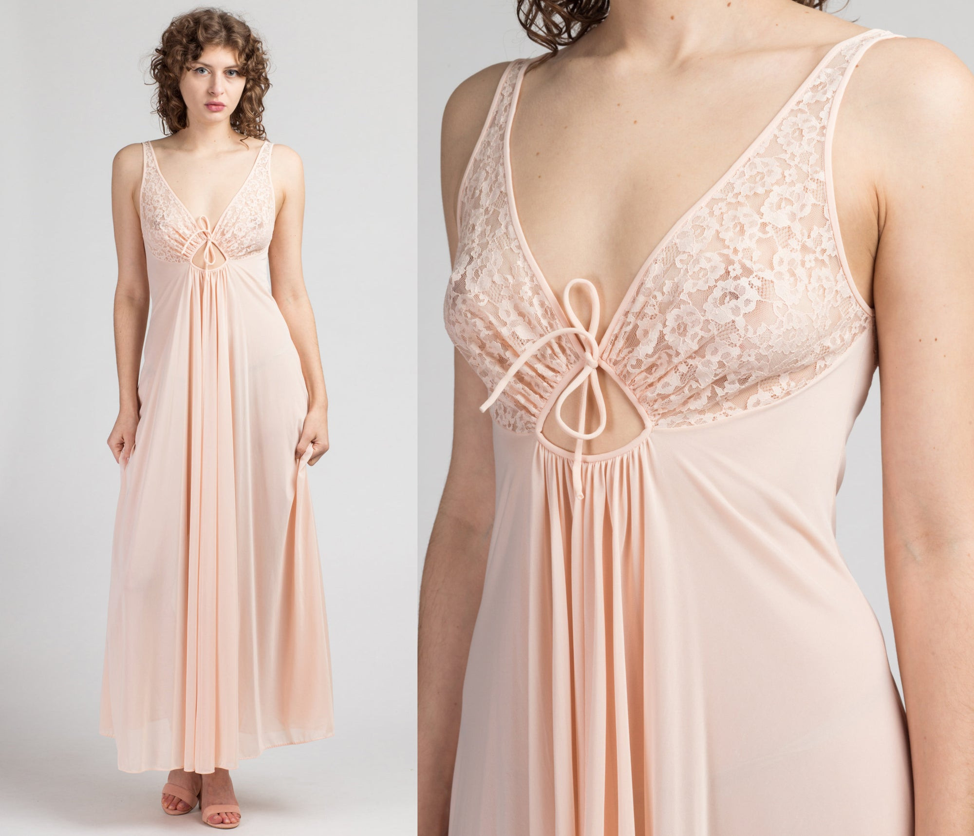 70s Keyhole Slip Nightgown - Small to Medium | Vintage Baby Pink Sheer Lace Lingerie Maxi Slip Dress