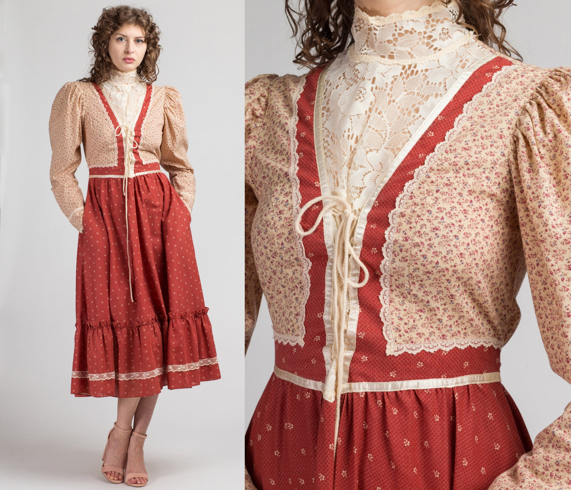 70s Does 1890s Gunne Sax Prairie Dress - Medium | Vintage Red Calico Floral High Lace Neck Boho Pocket Midi