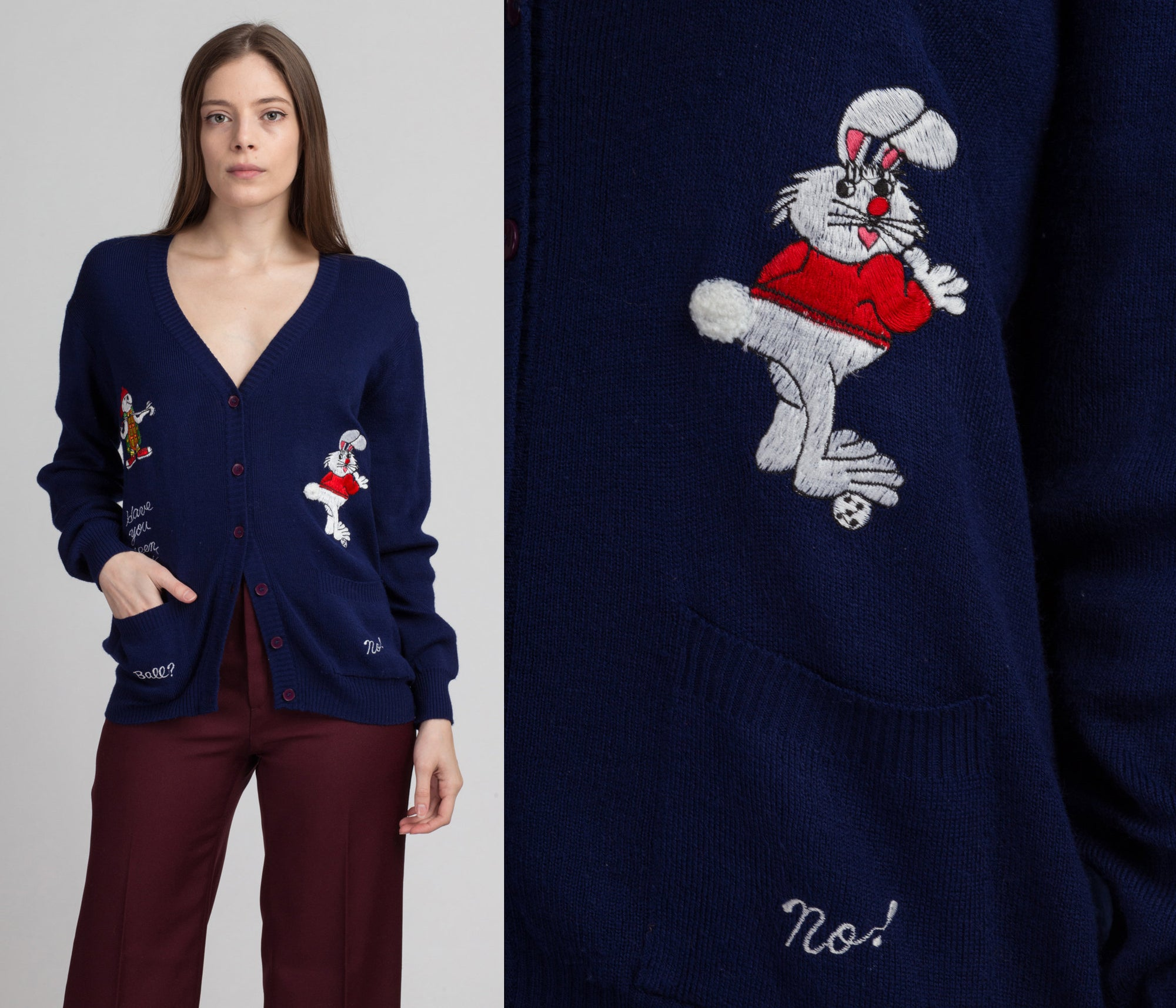 "70s ""Have You Seen My Ball?"" La Mode Du Golf Cardigan - Large 