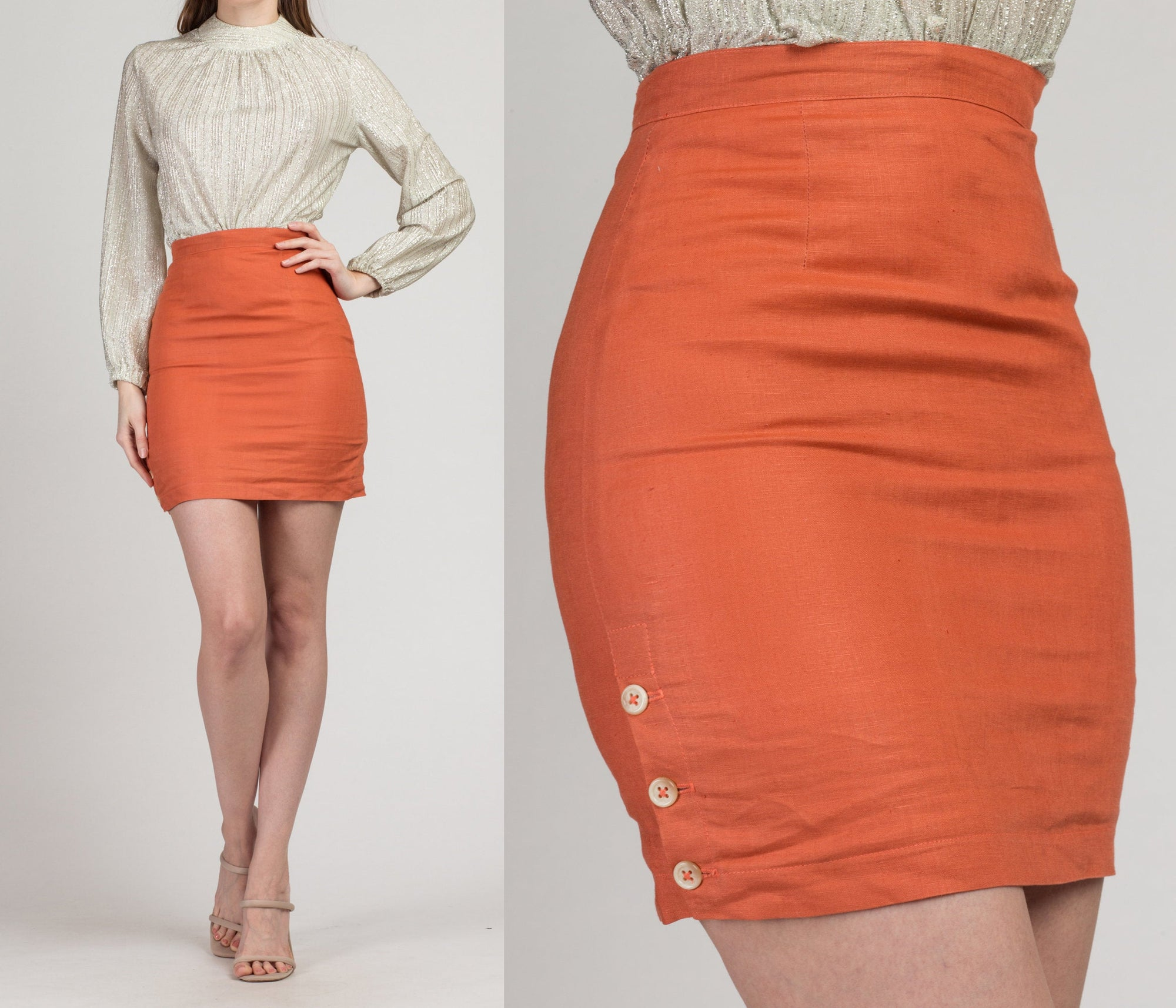 Vintage Georges Marciano Linen Mini Pencil Skirt - Extra Small, 24"