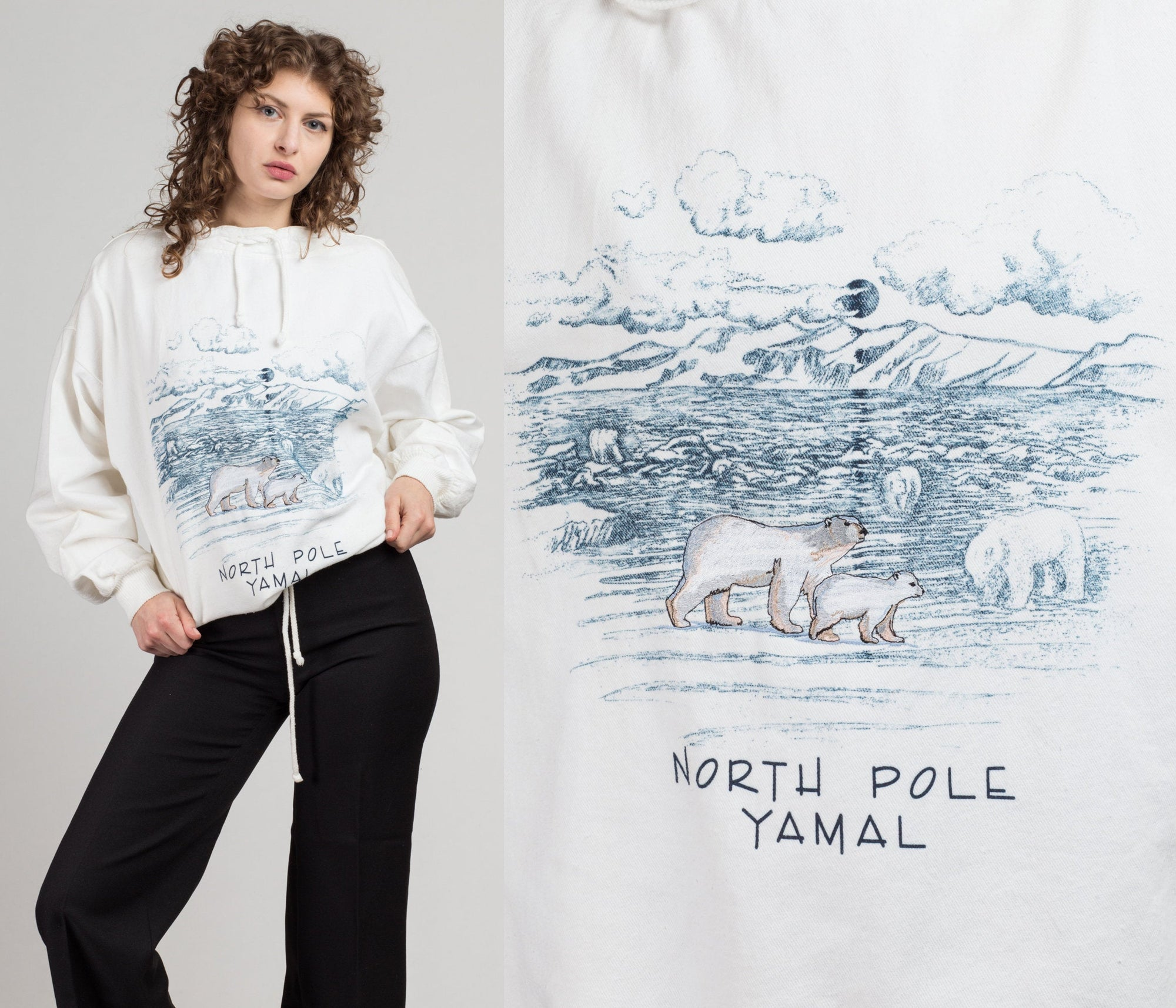 80s Yamal North Pole Sweatshirt - 2XL | Vintage White Polar Bear Tourist Pullover
