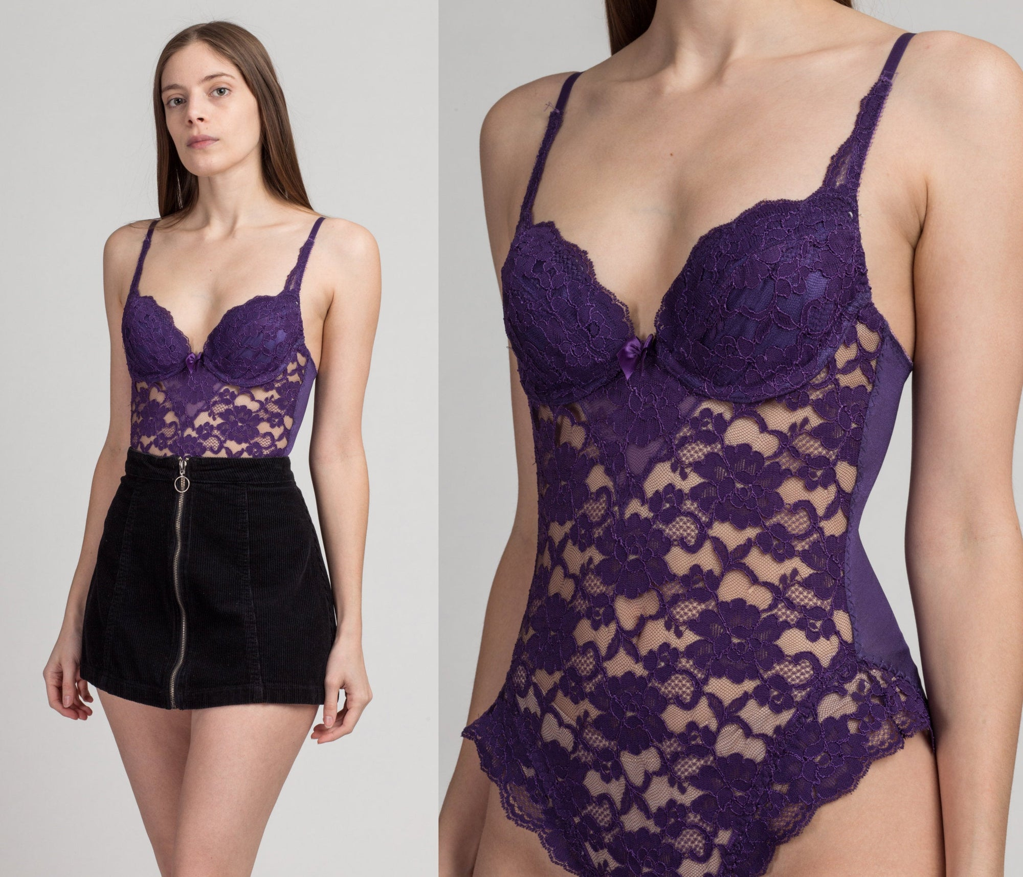 Vintage Lily Of France Purple Lace Bodysuit - 34B | 80s Underwire Lingerie Teddy Top