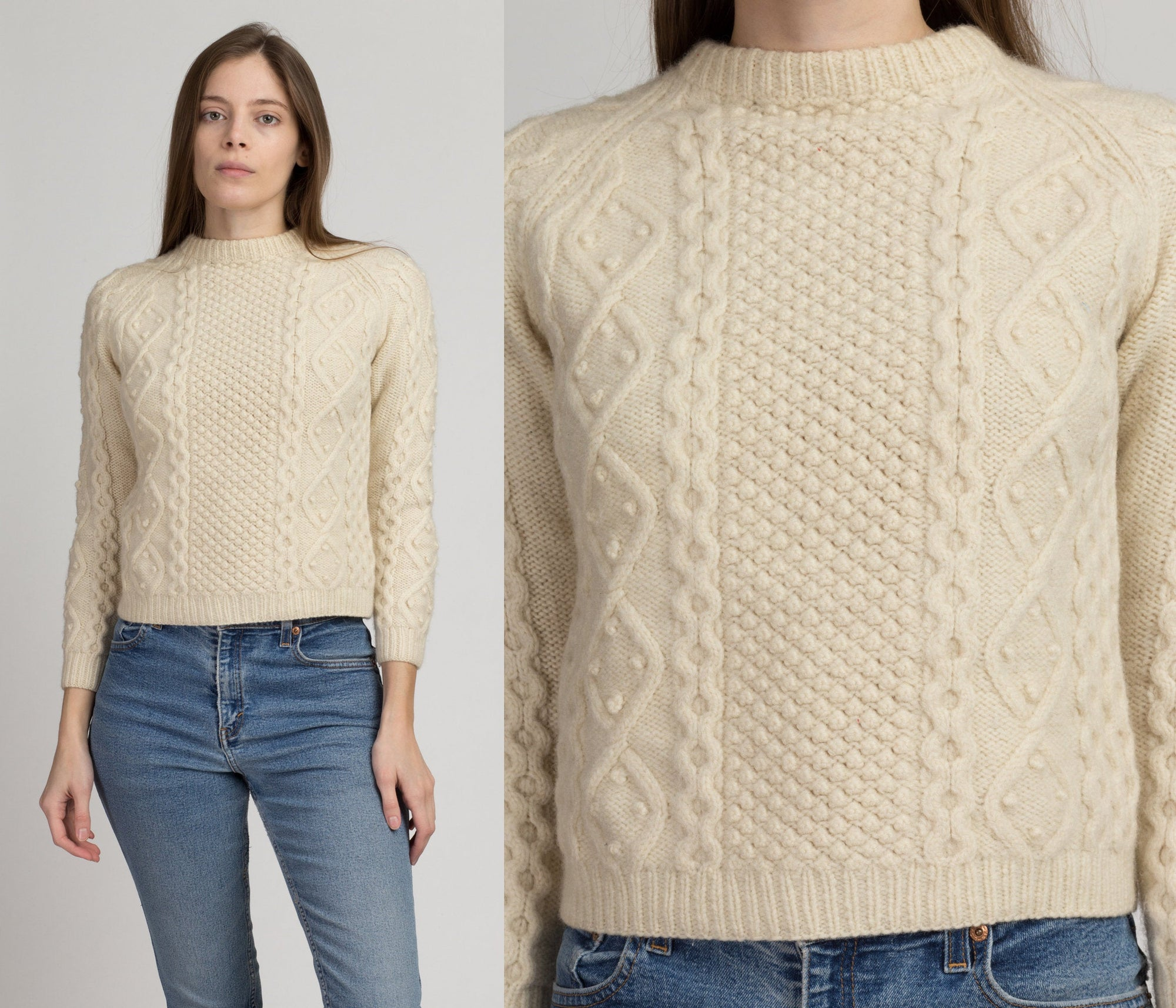 70s Cropped Cable Knit Sweater - Petite Extra Small | Vintage Cream Pullover Jumper