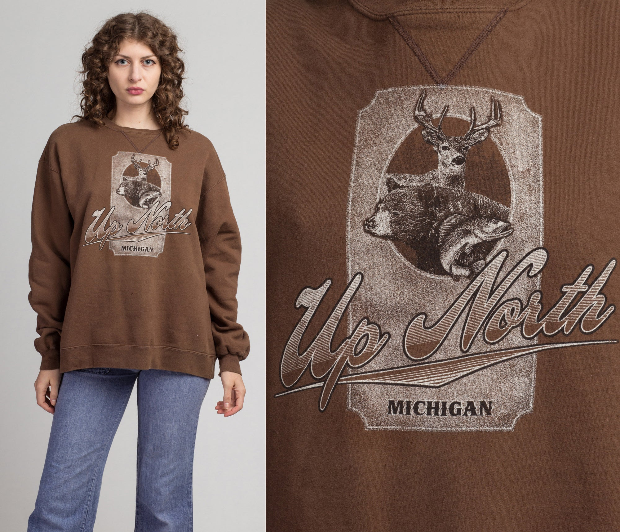 "80s Michigan ""Up North"" Sweatshirt - Men's XL 
